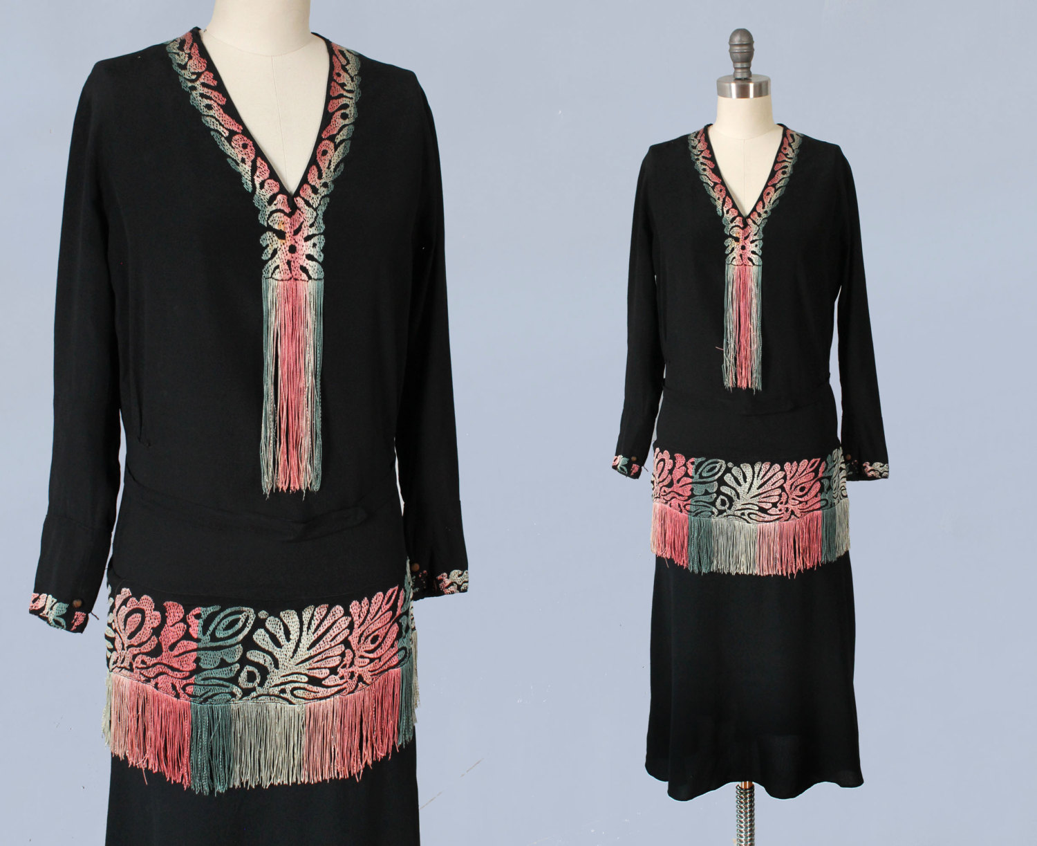 Black crepe dress with embroidery and fringe details. 1920s.