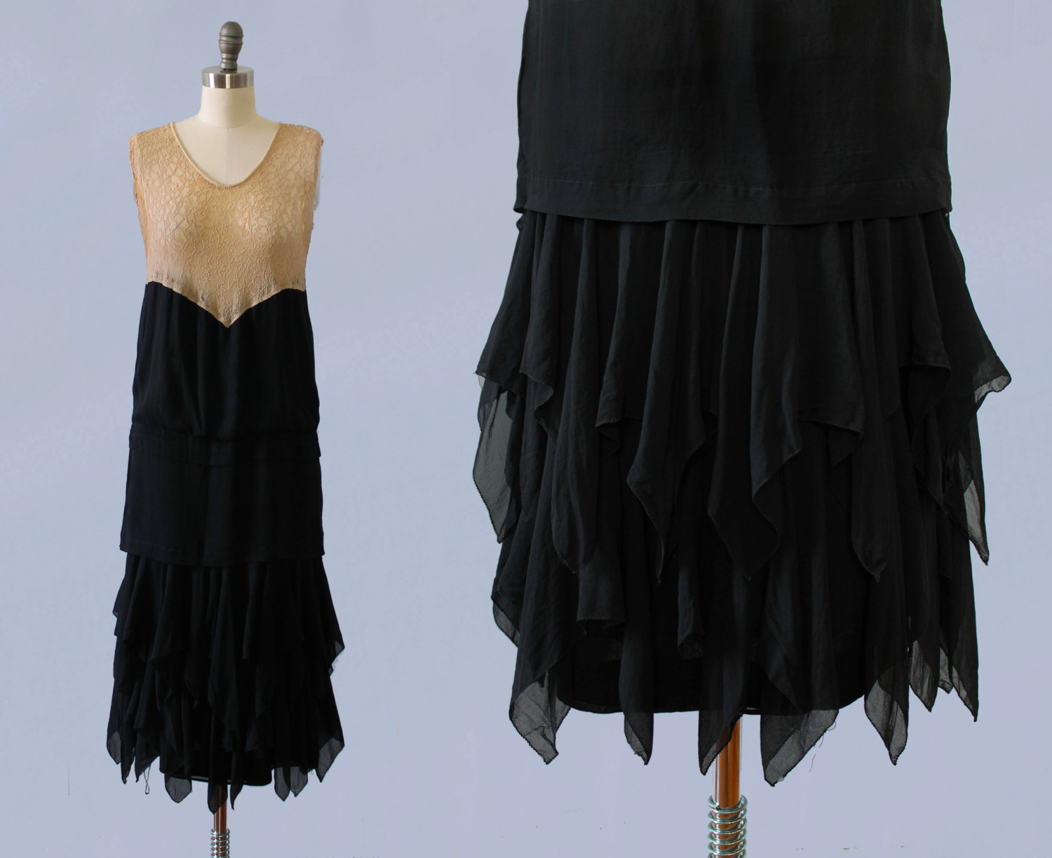 Silk and lace dress. 1920s.