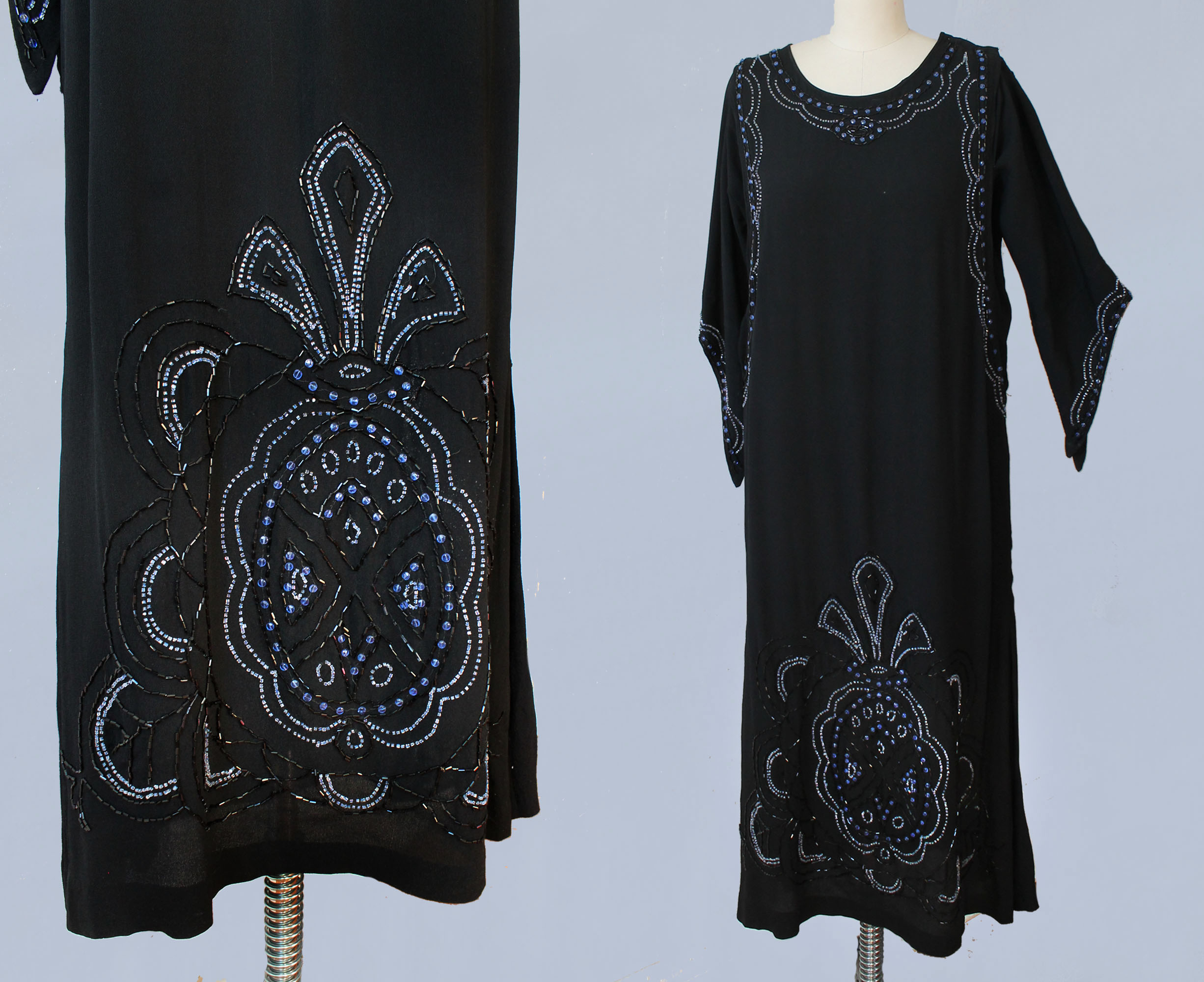 Black silk beaded dress. 1920s.
