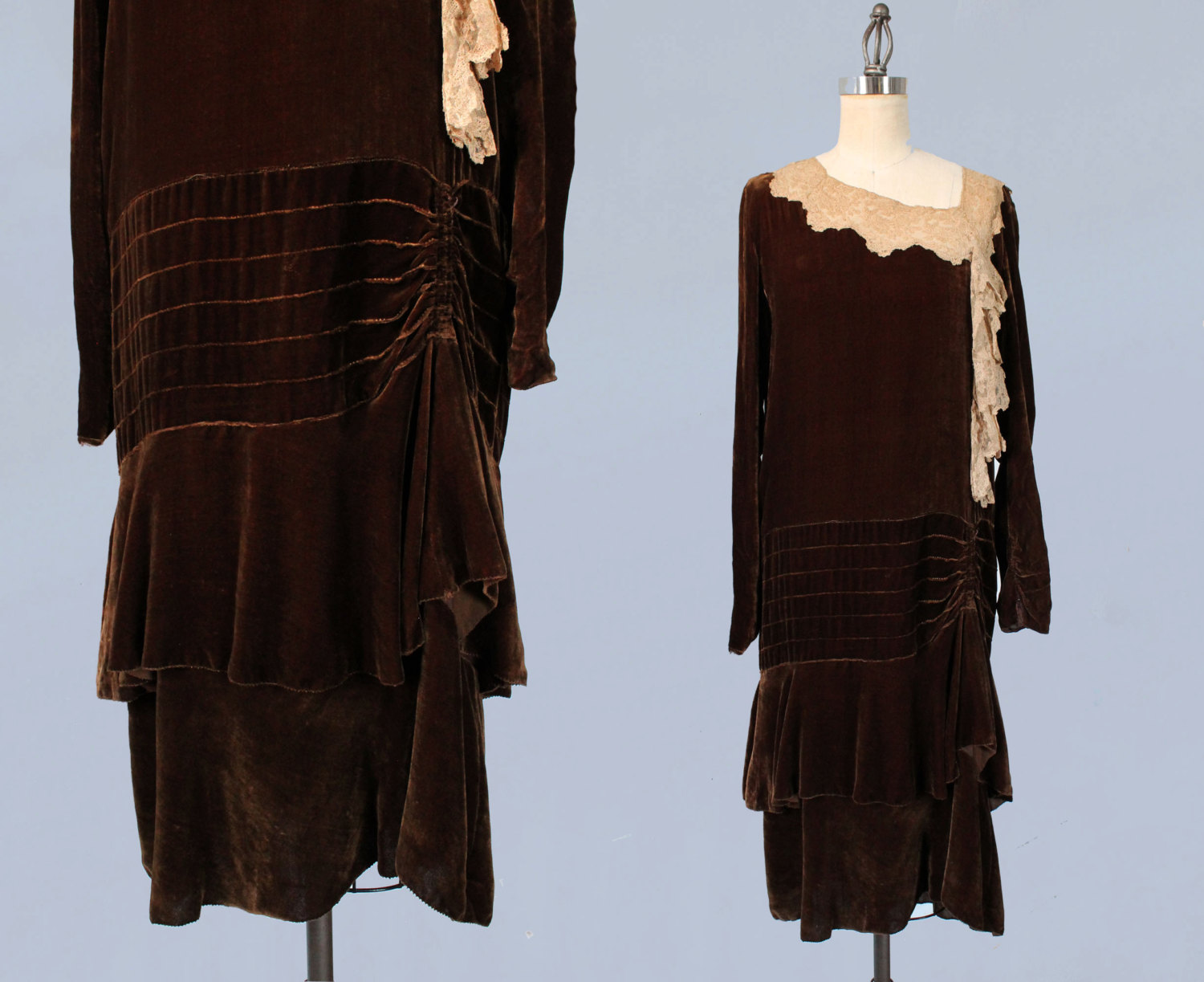 Chocolate brown silk velvet and lace dress. 1920s.