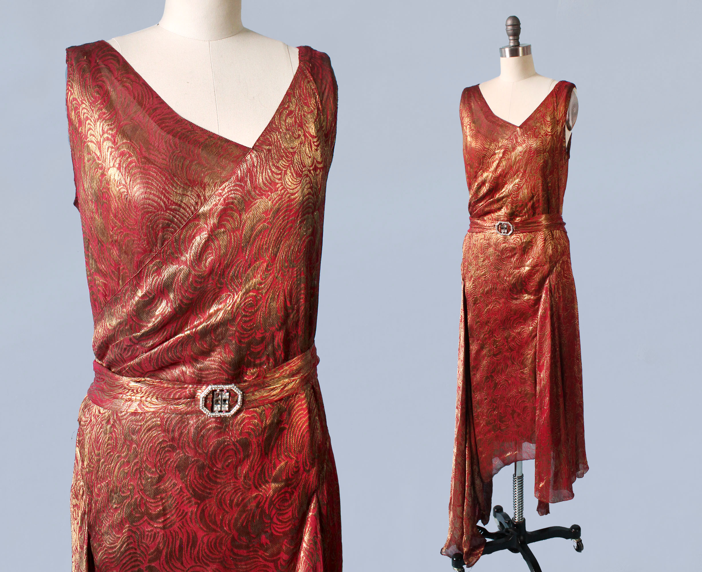 Red metallic lamé gown. Late 1920s.