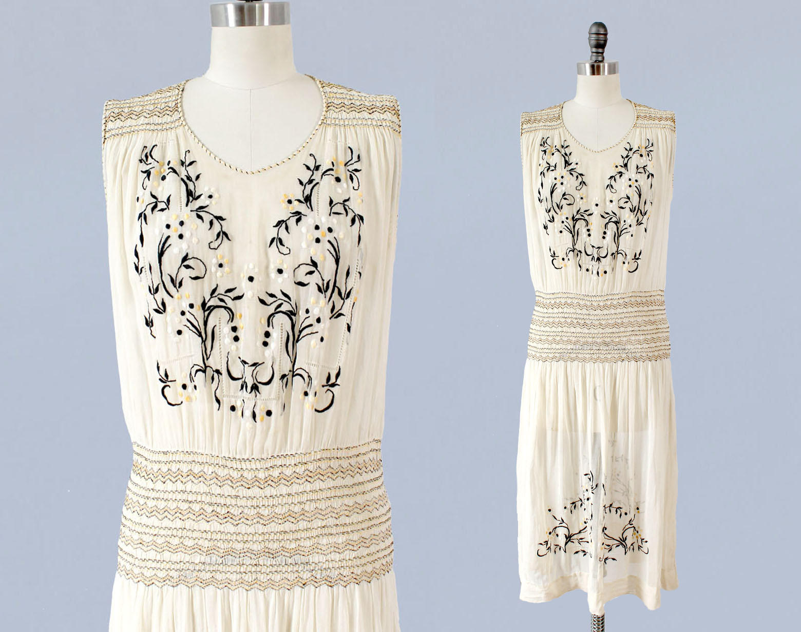 Sheer cotton embroidered peasant dress. 1920s.