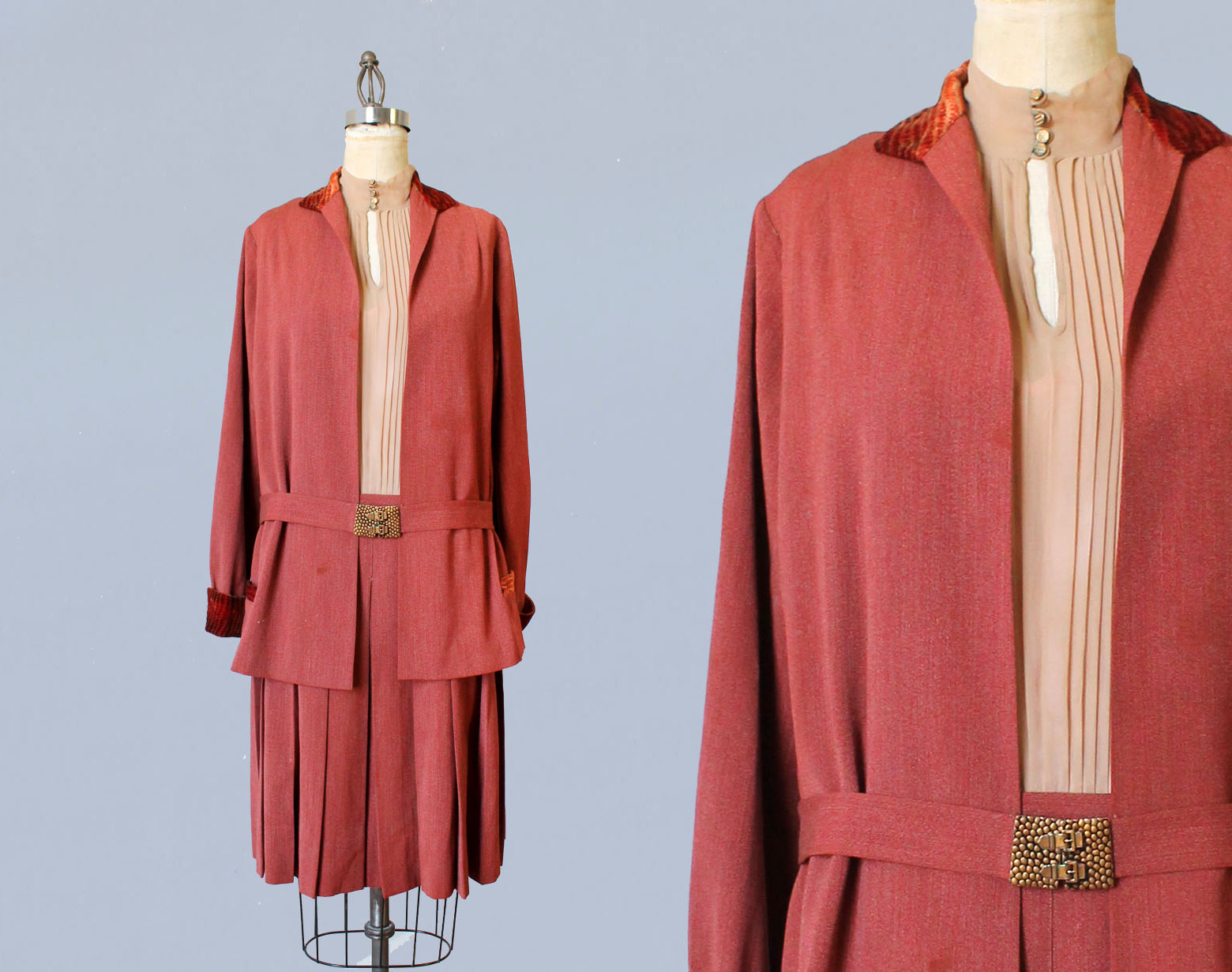 Two piece dress and jacket set with interesting meta buckle belt buckle and velvet trim. 1920s.