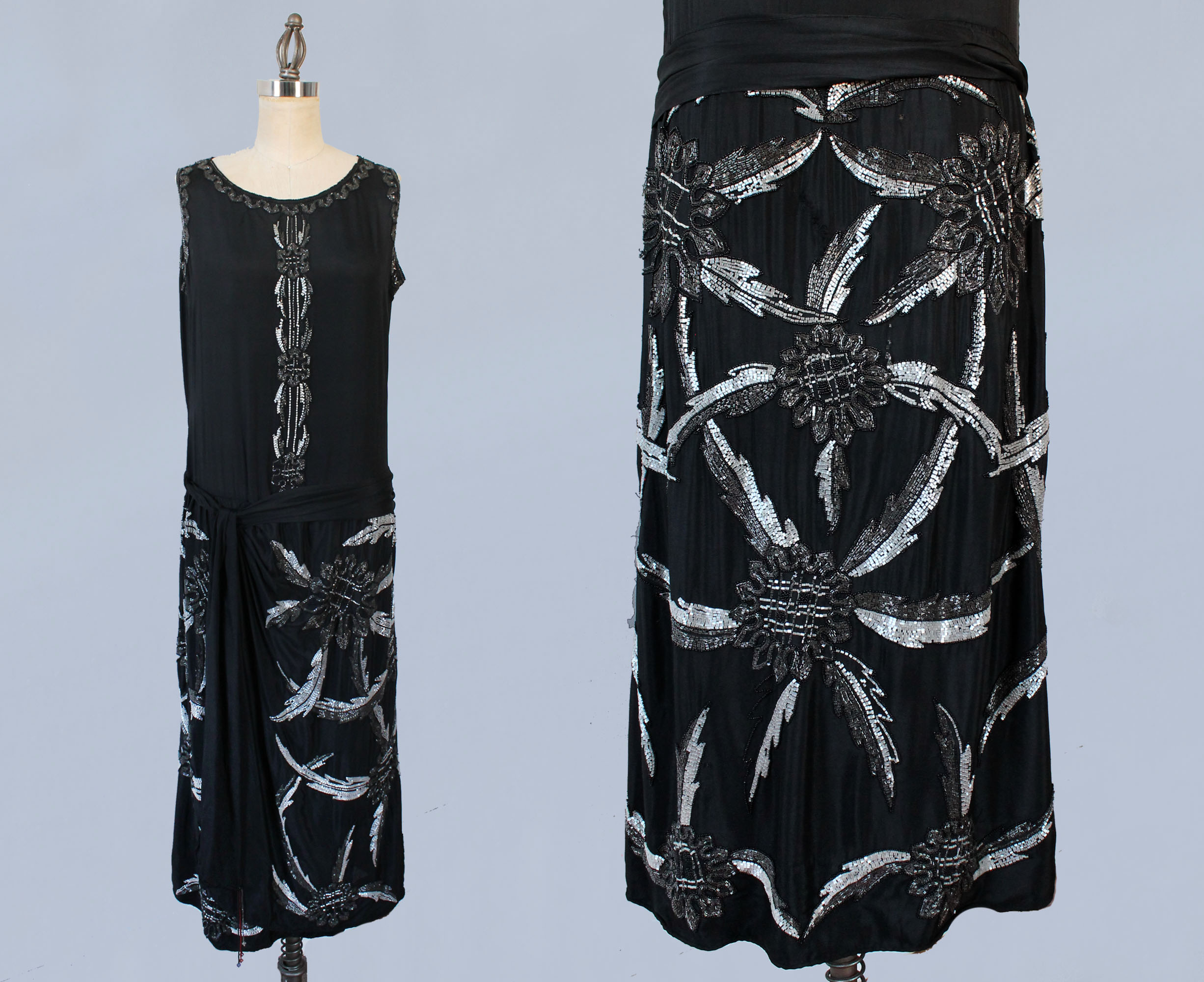 Black silk dress with abstract beaded designs. 1920s.