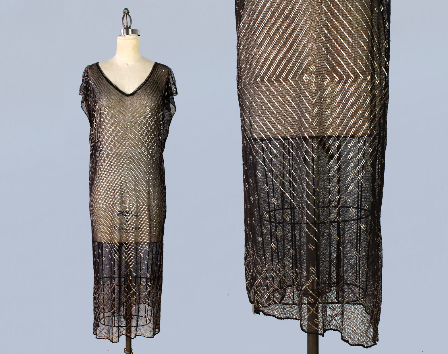 Assuit hammered metal on net dress made from shawl. 1920s.