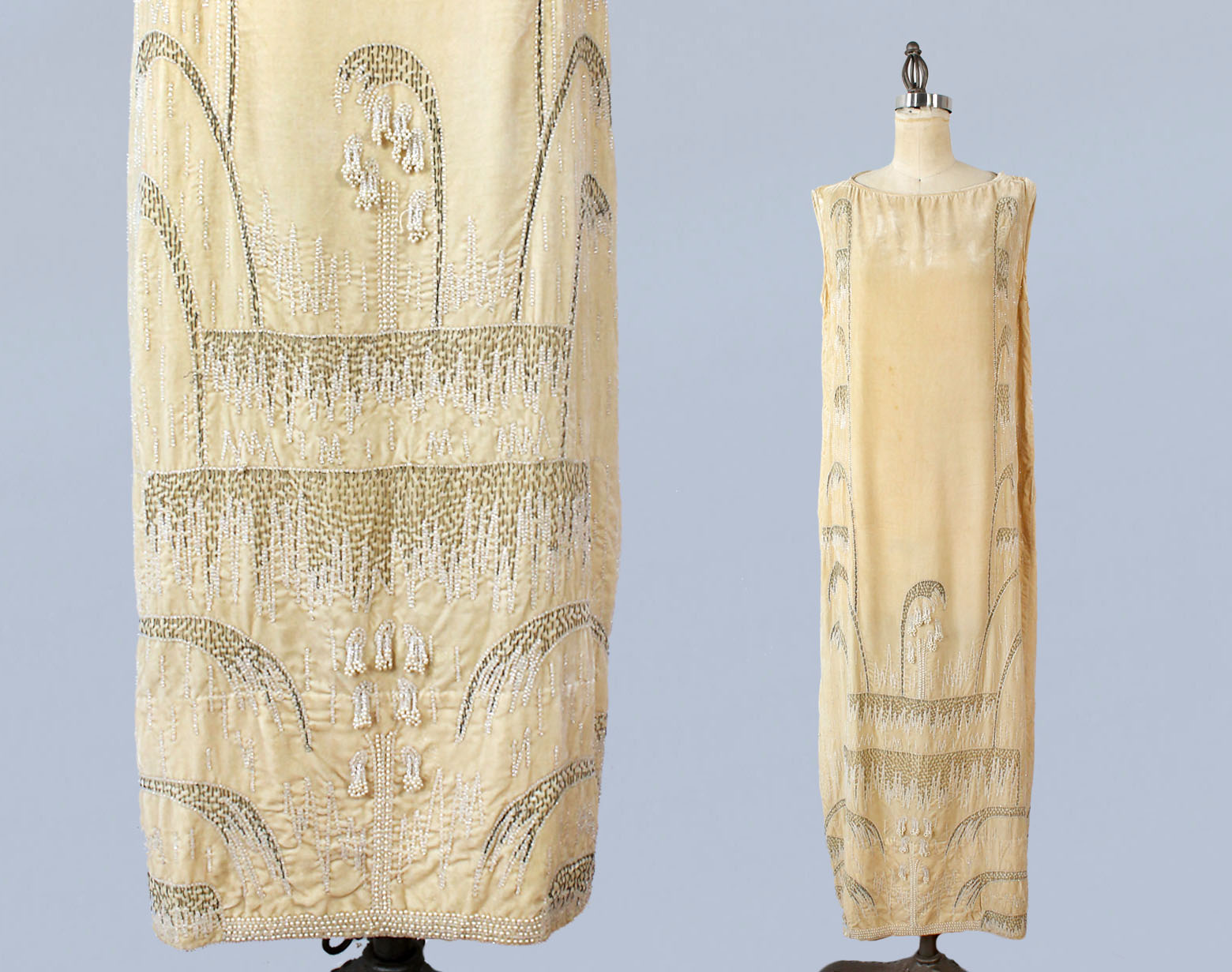 Butter yellow velvet dress with beading and lily of the valley motif. 1920s.