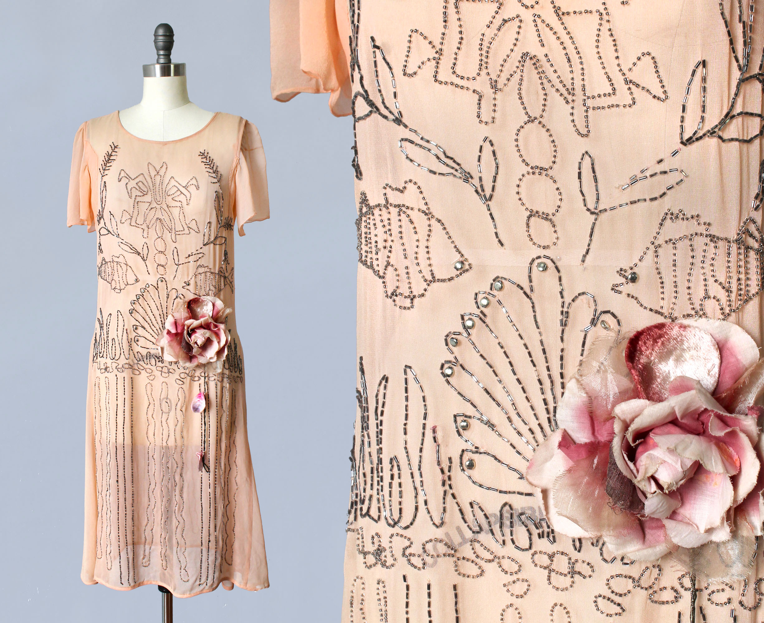 Pink silk dress with beaded and rhinestoned under-the-sea motifs and velvet flower. 1920s.