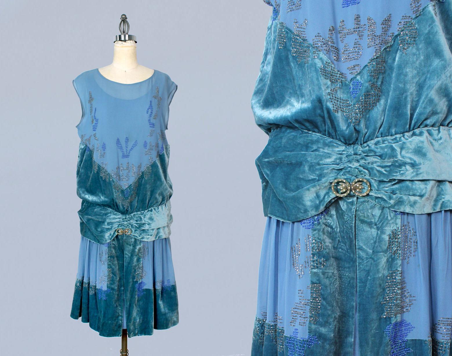 Bright blue silk and velvet beaded dress. 1920s.
