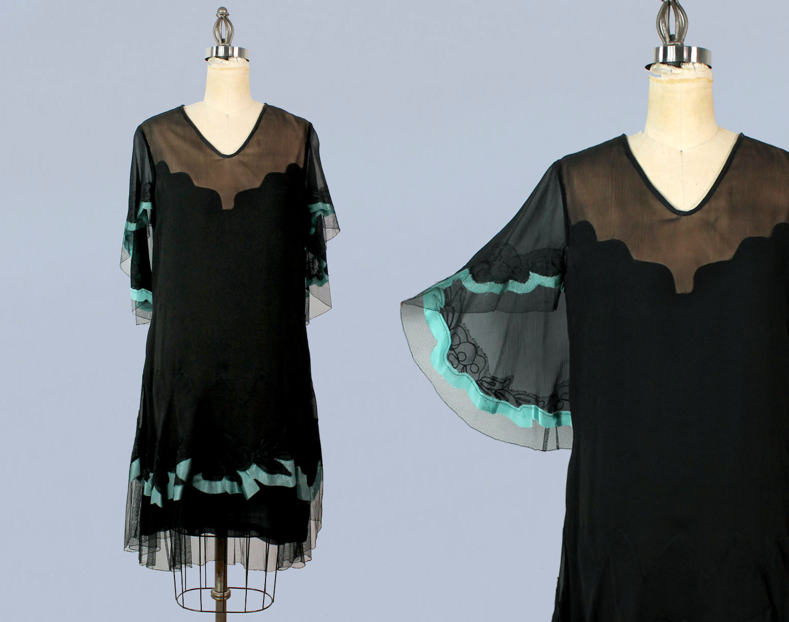 Black silk dress with teal trim. 1920s.