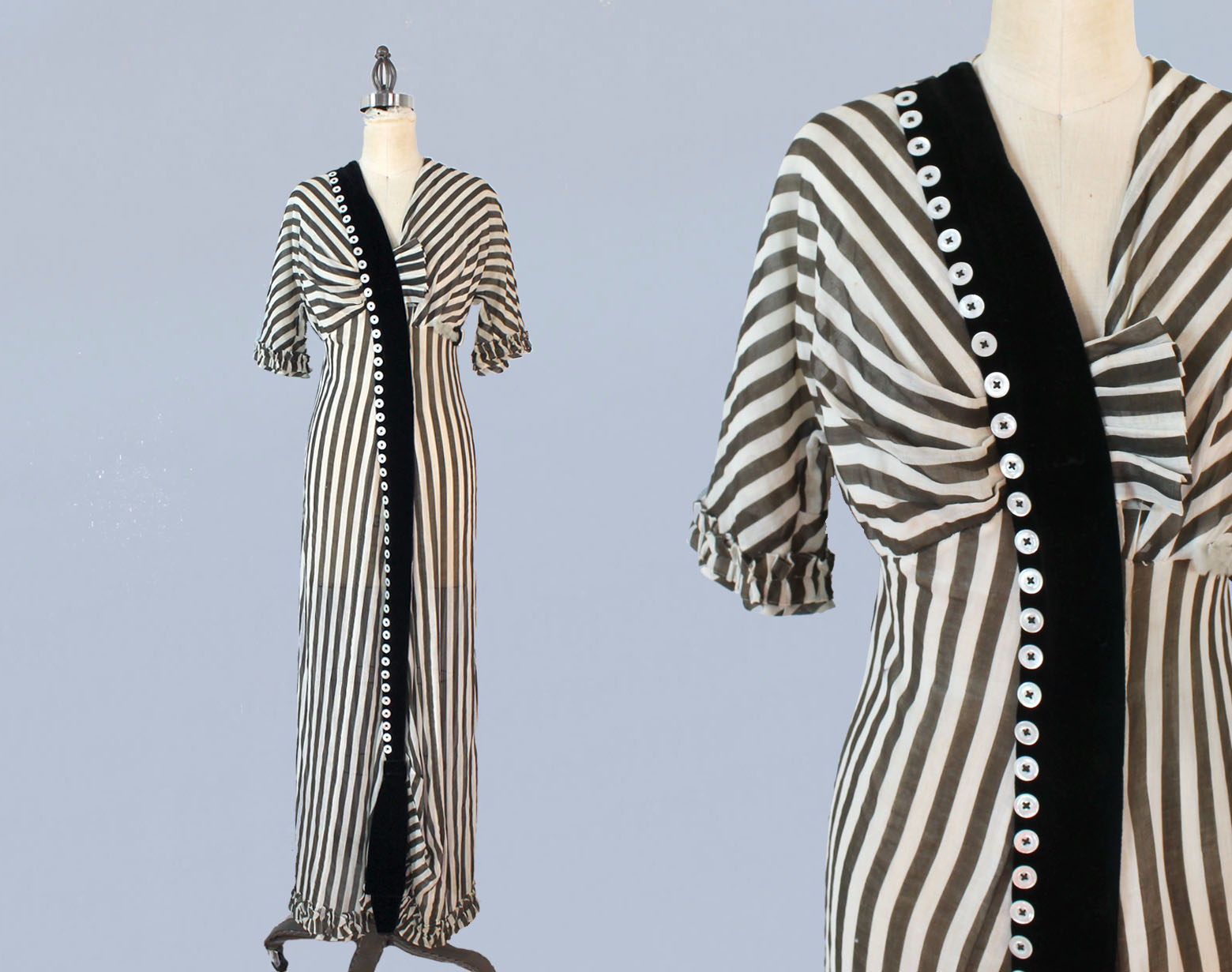 Black and white striped dress. 1910s.