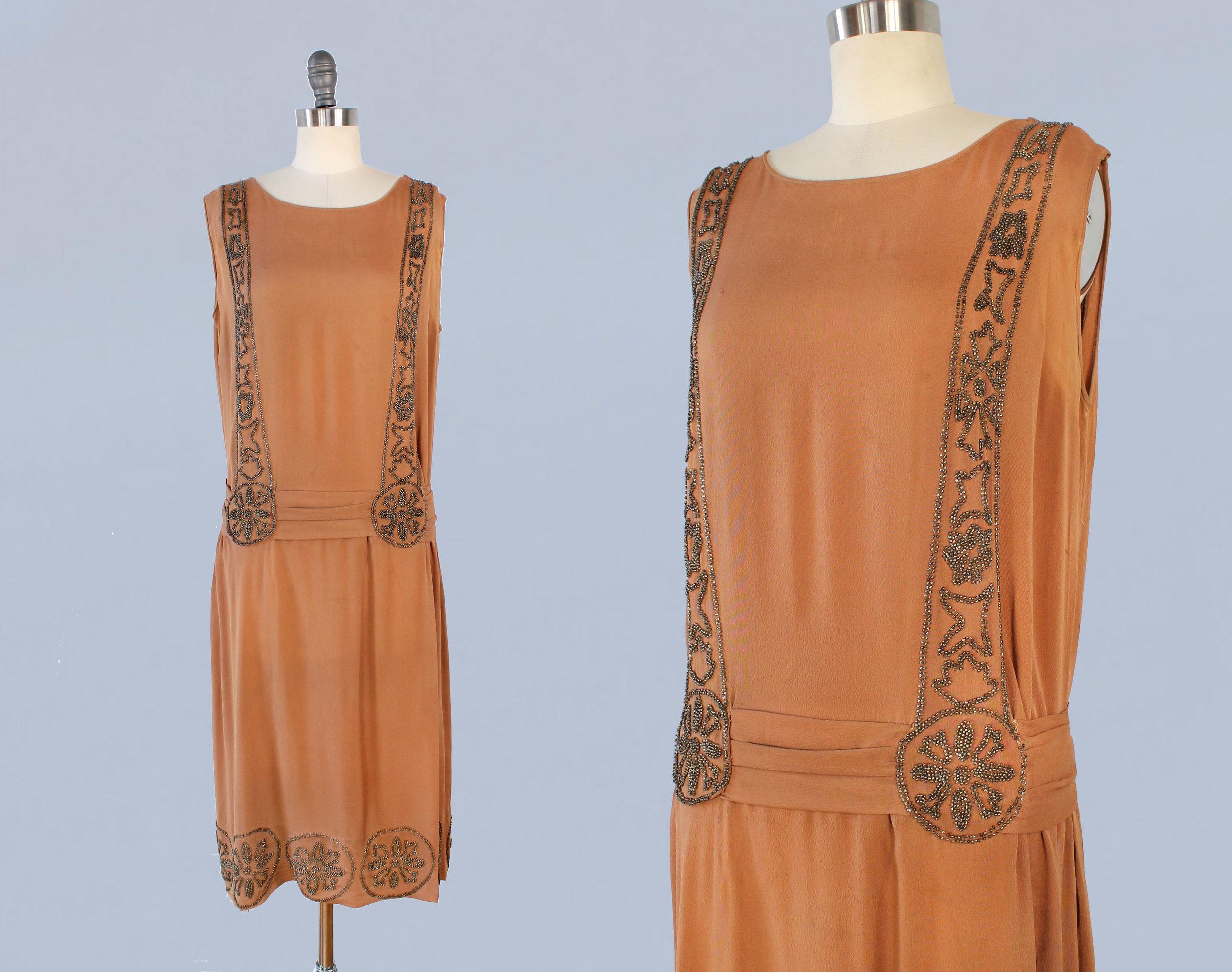Caramel brown silk beaded dress. 1920s.
