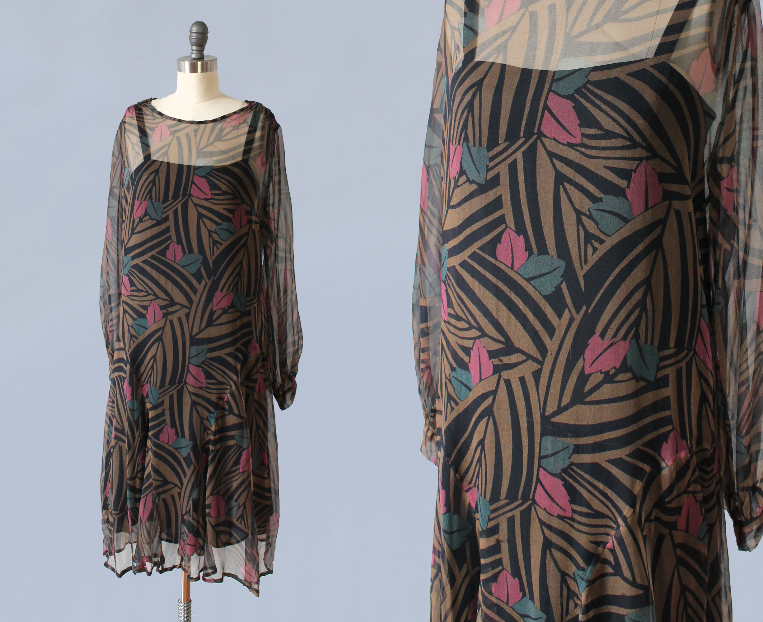 Deco printed silk dress. 1920s.
