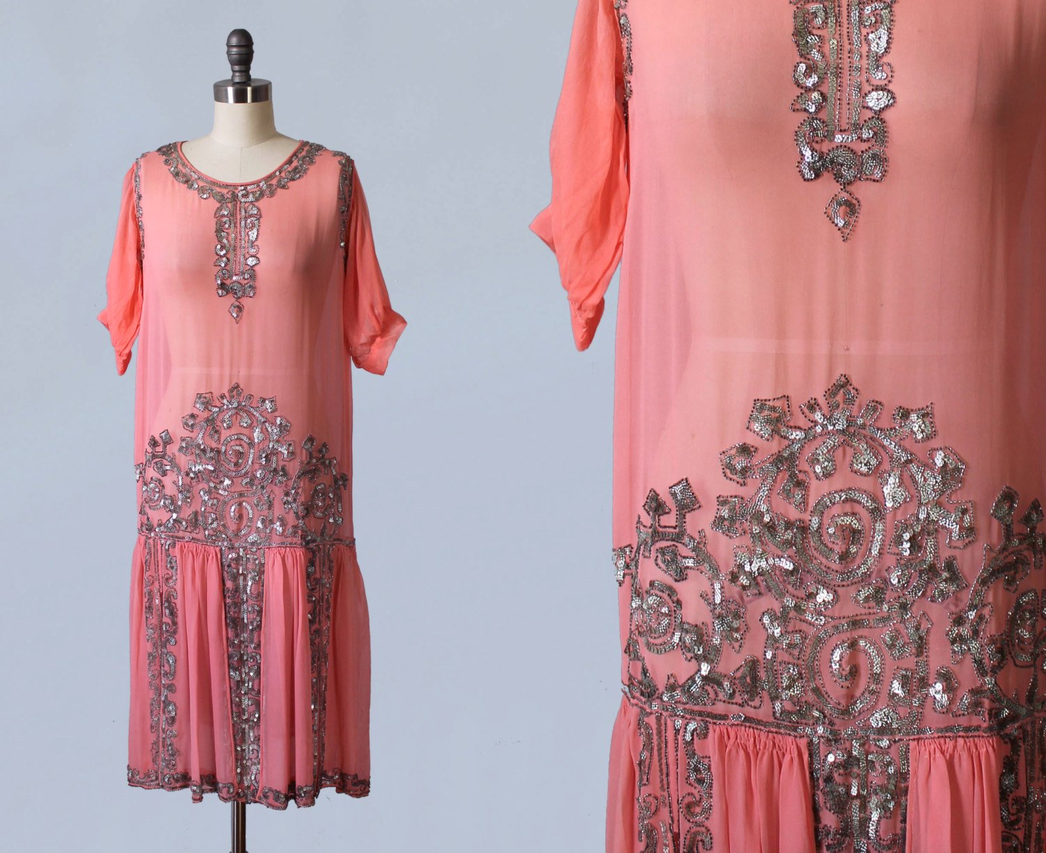 Pink silk dress with silver sequins, 1920s