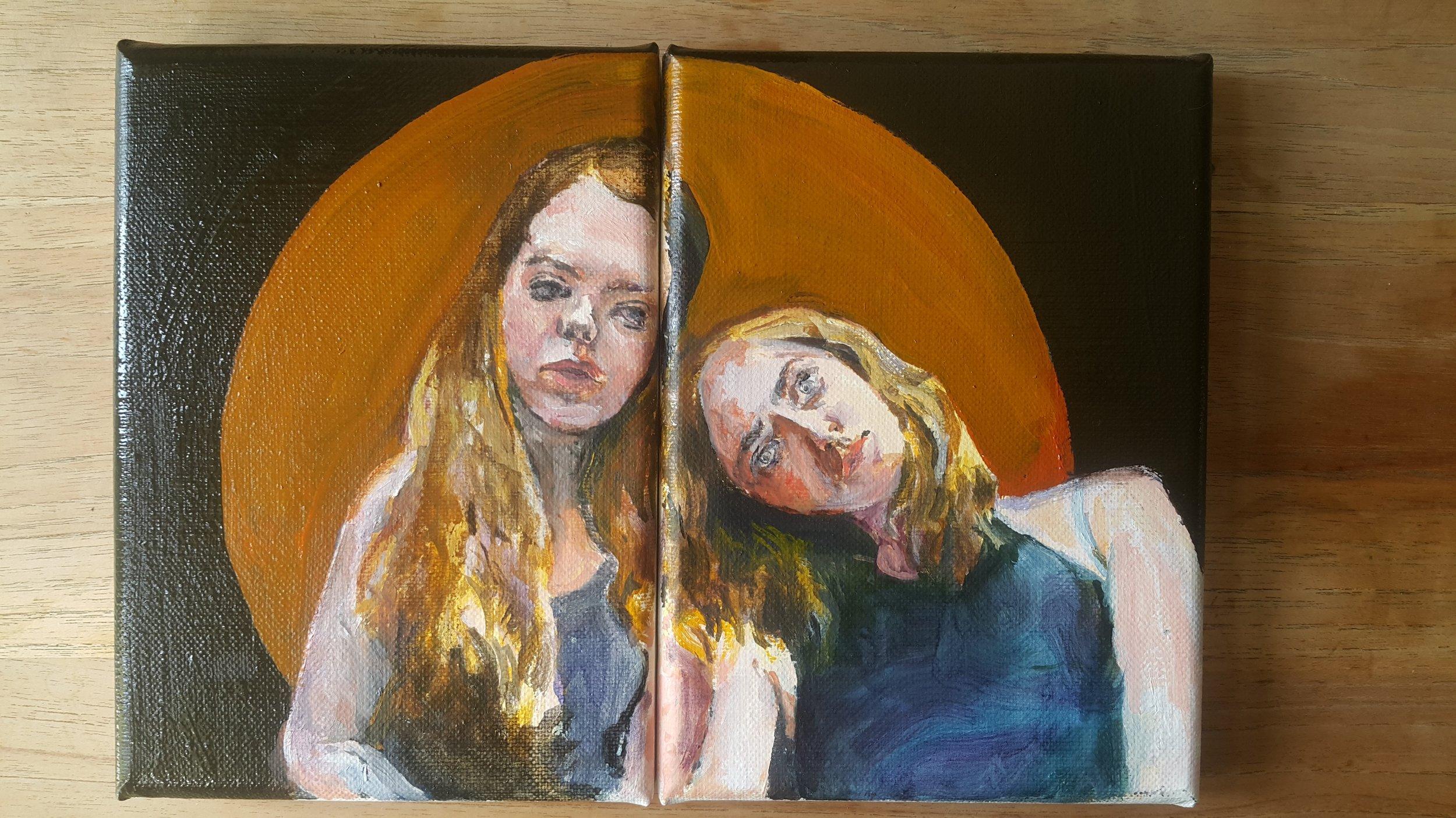 Anastasya & Lisa, 2016, oil on canvas