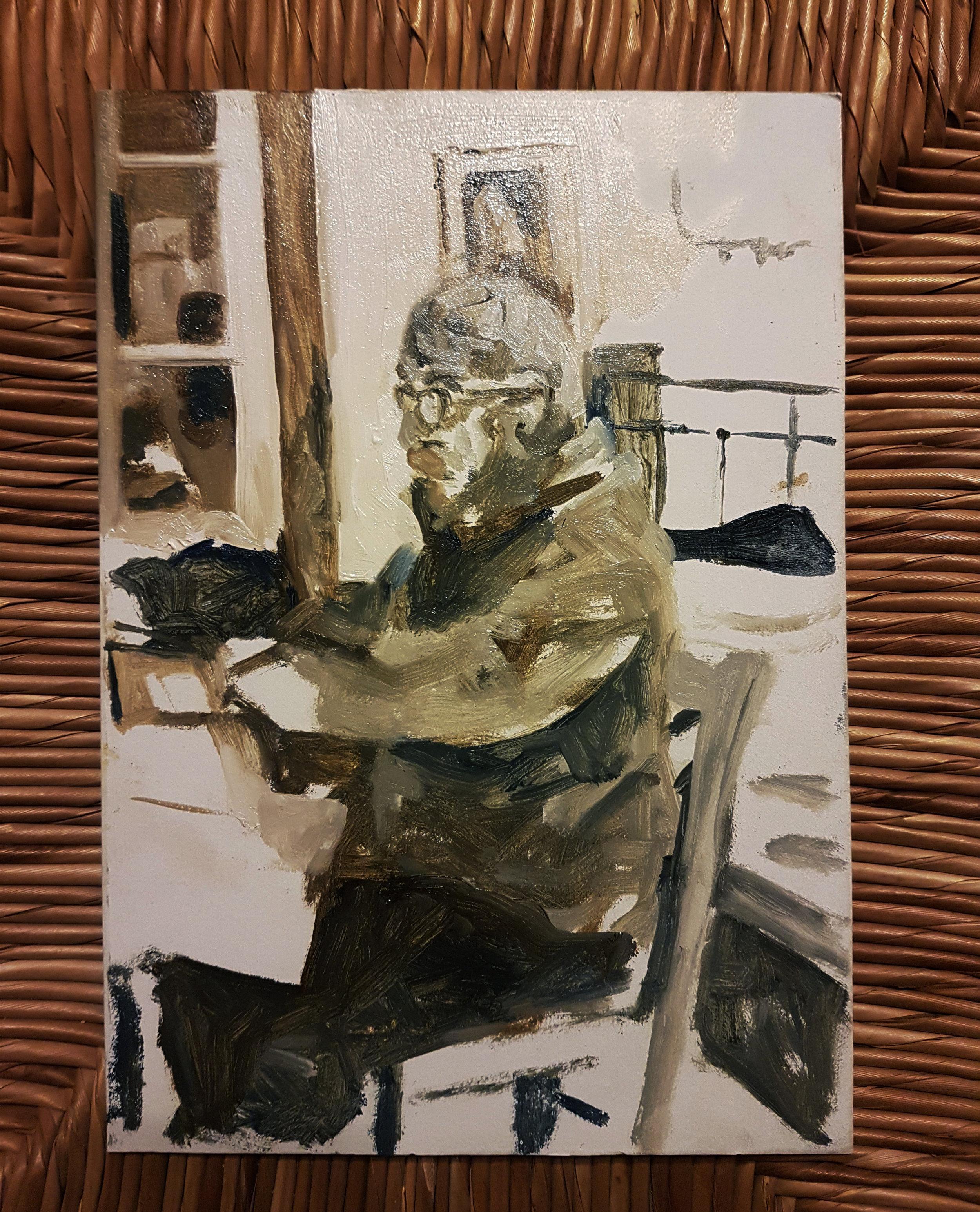 Sevan (sketch), oil on cardboard, 2018