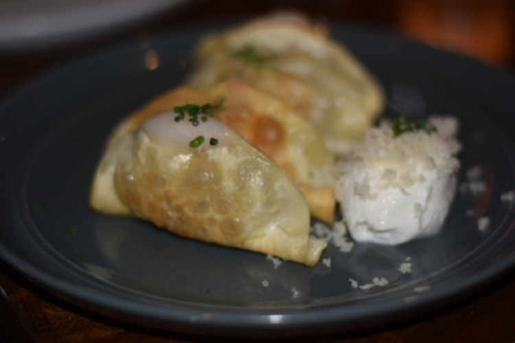 Pierogies: Roasted potato and duck confit, whipped horseradish butterm