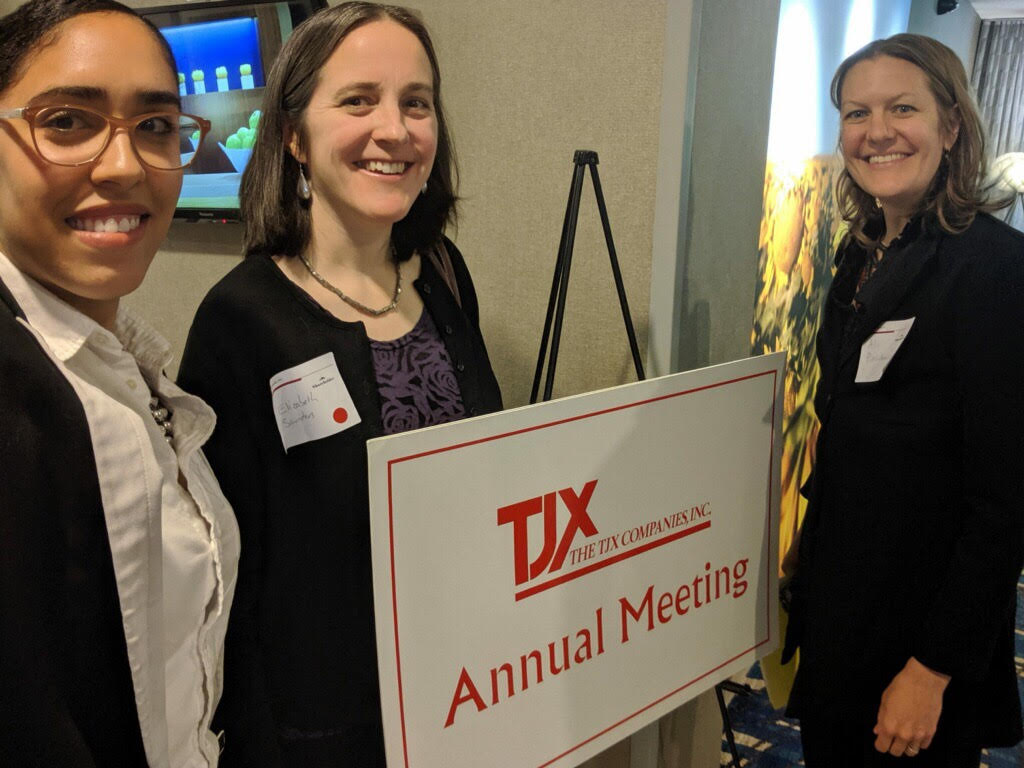 Ali Pinschmidt from Don't Take That Receipt! (right), with Kadineyse Paz from the Alliance for a Healthy Tomorrow (middle), and Elizabeth Saunders from Clean Water Action (middle) presented TJX CEO and shareholders with requests to adopt a safer chemical policy, including an improved e-receipt system and phenol-free receipt paper.
