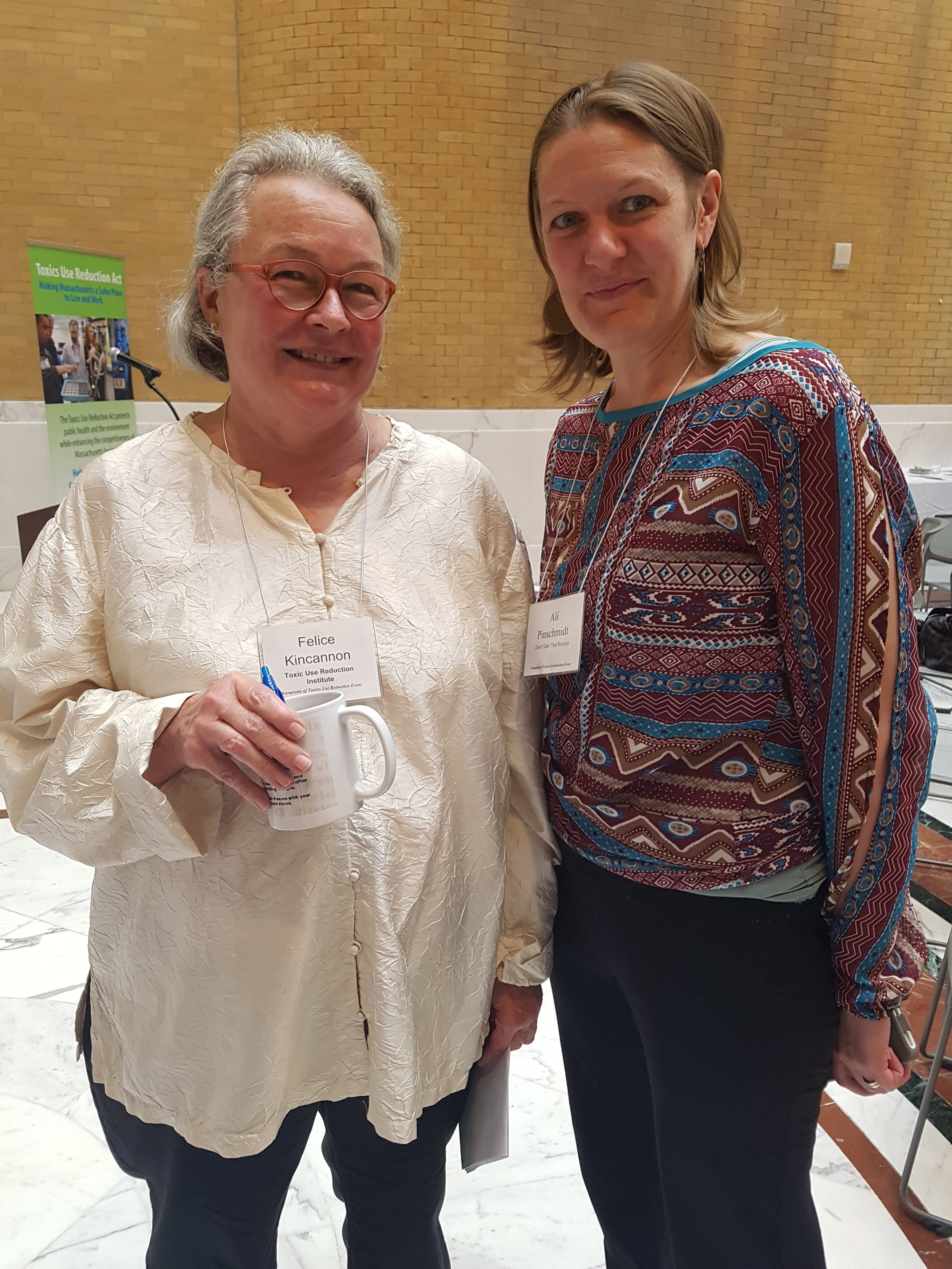 Don't Take That Receipt! Director Ali Pinschmidt with Communications and Community Manager Felice Kincannon of TURI - our wonderfully supportive funder!