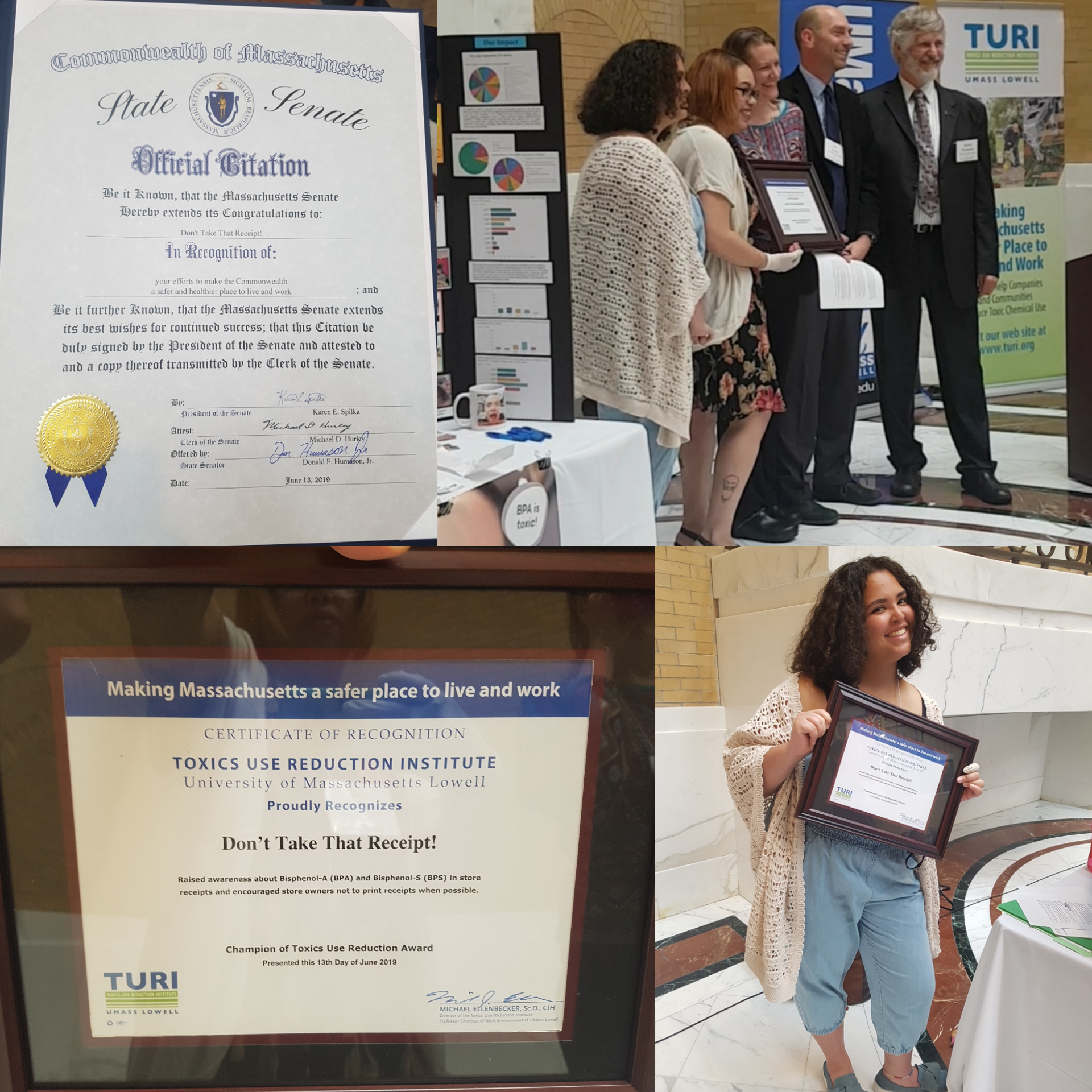 Thank you to TURI for supporting and honoring Don't Take That Receipt! in our continuing efforts in making the world less toxic!
