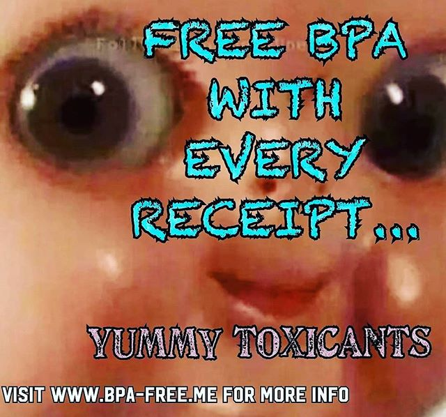 """Receipts contain BPA/BPS, a toxic chemical 😱 that enters your system the moment you touch 😱 the """"Ink side"""" of a thermal receipts. Learn more at  www.bpa-free.me 😊"""