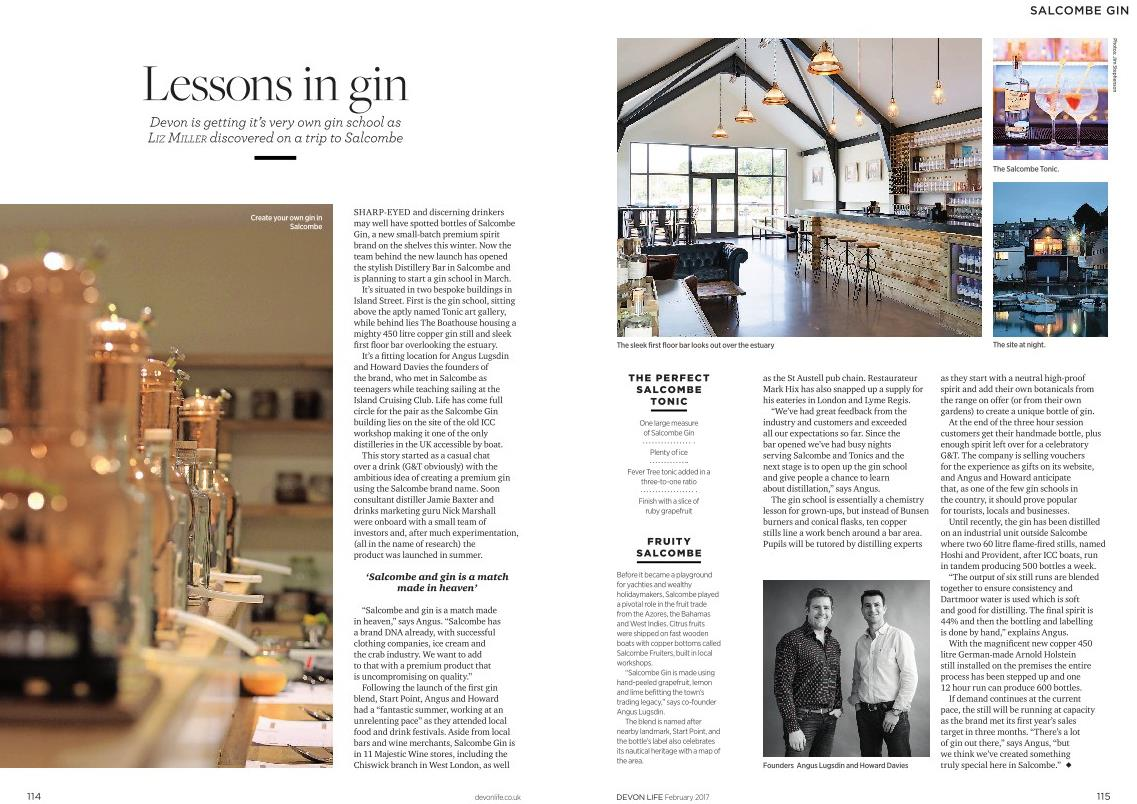 Salcombe Gin in Devon Life article