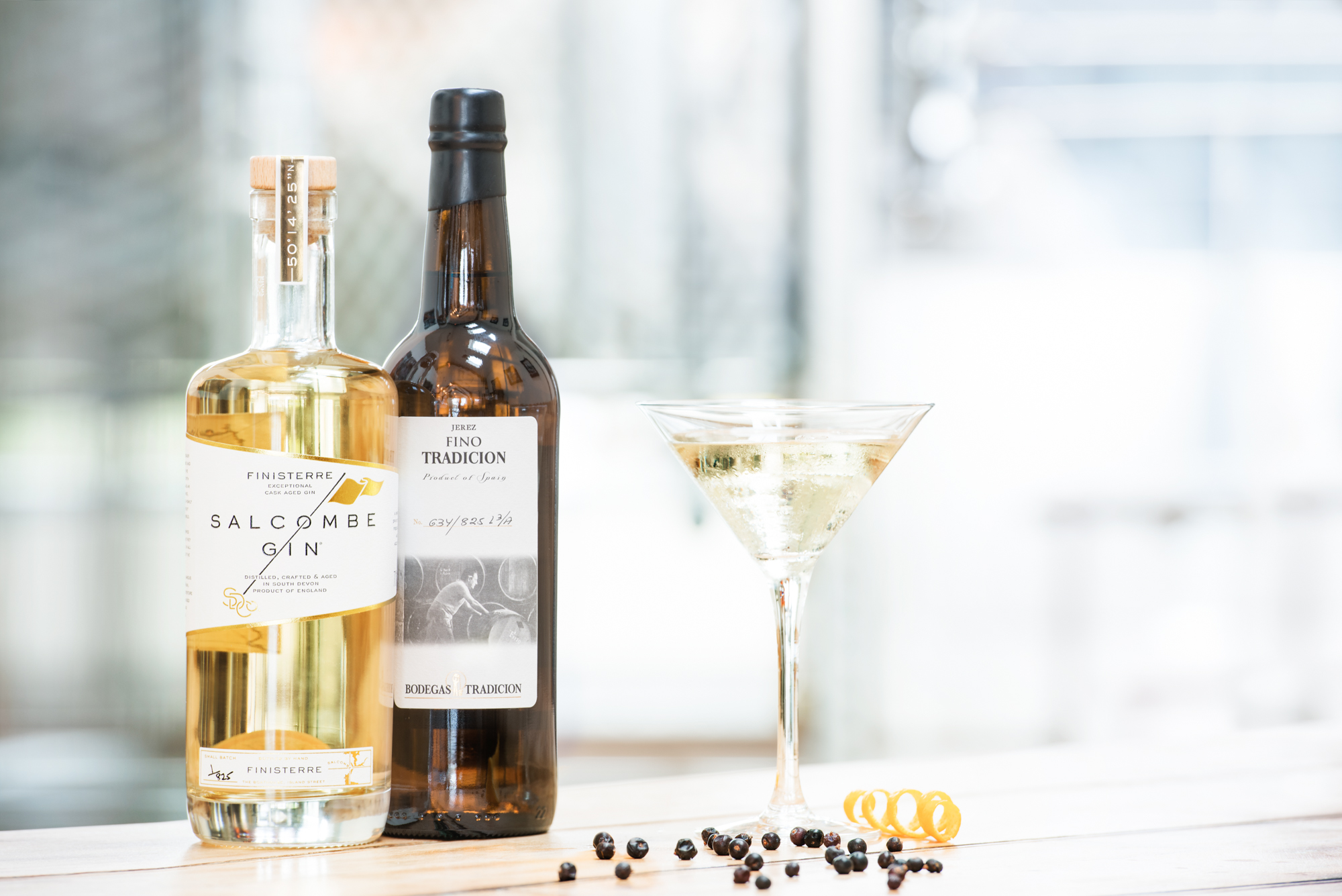 Salcombe Gin Finistini Cocktail made with Aged gin and Fino sherry
