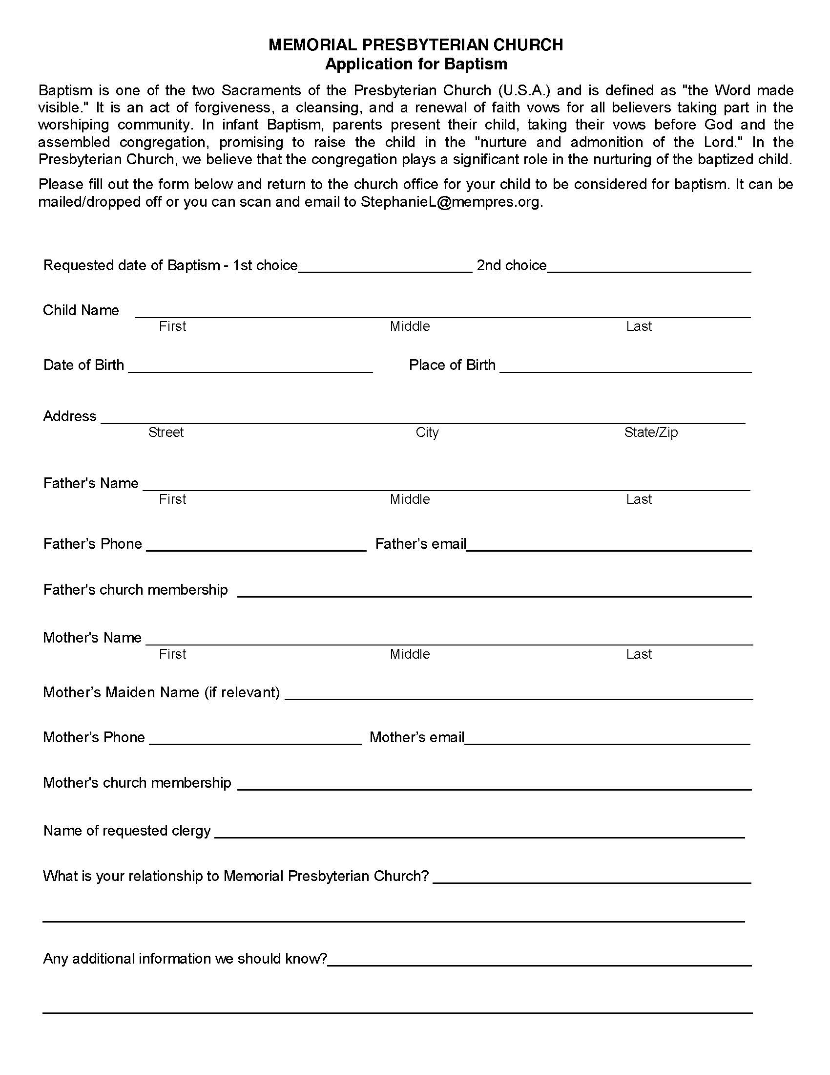 Baptism Application -