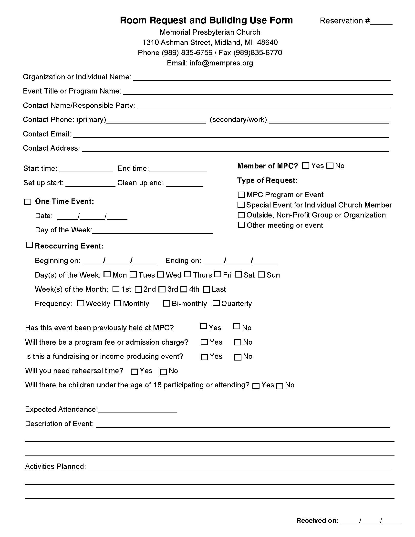 Room Request & Building Use Form -