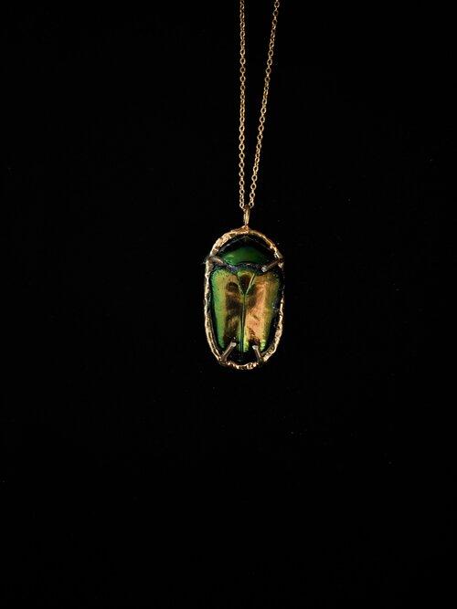 Brass Irredescent BlueGreen Necklace