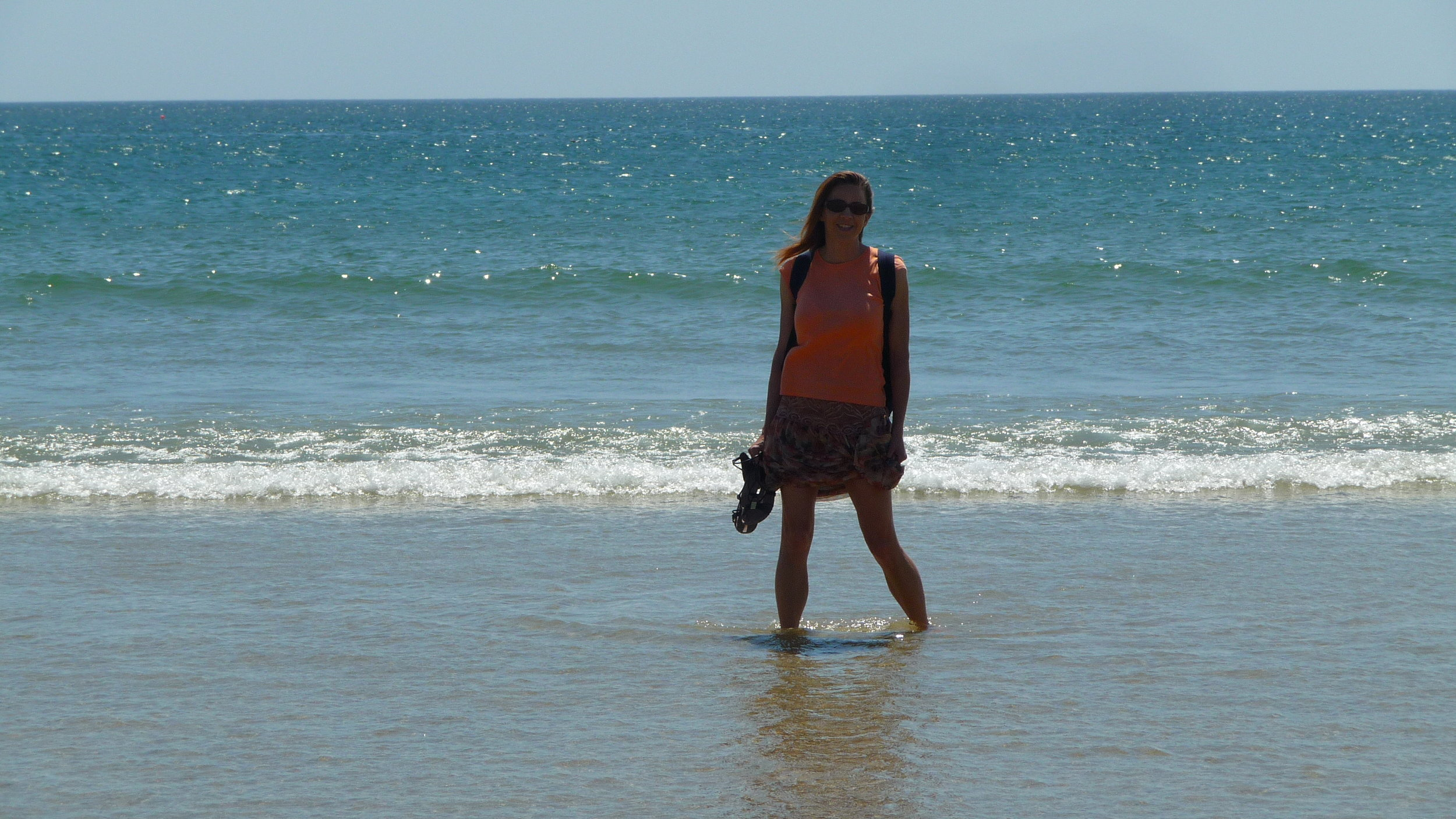 Viki enjoying Porto beach where Douro River meets the Atlantic Ocean