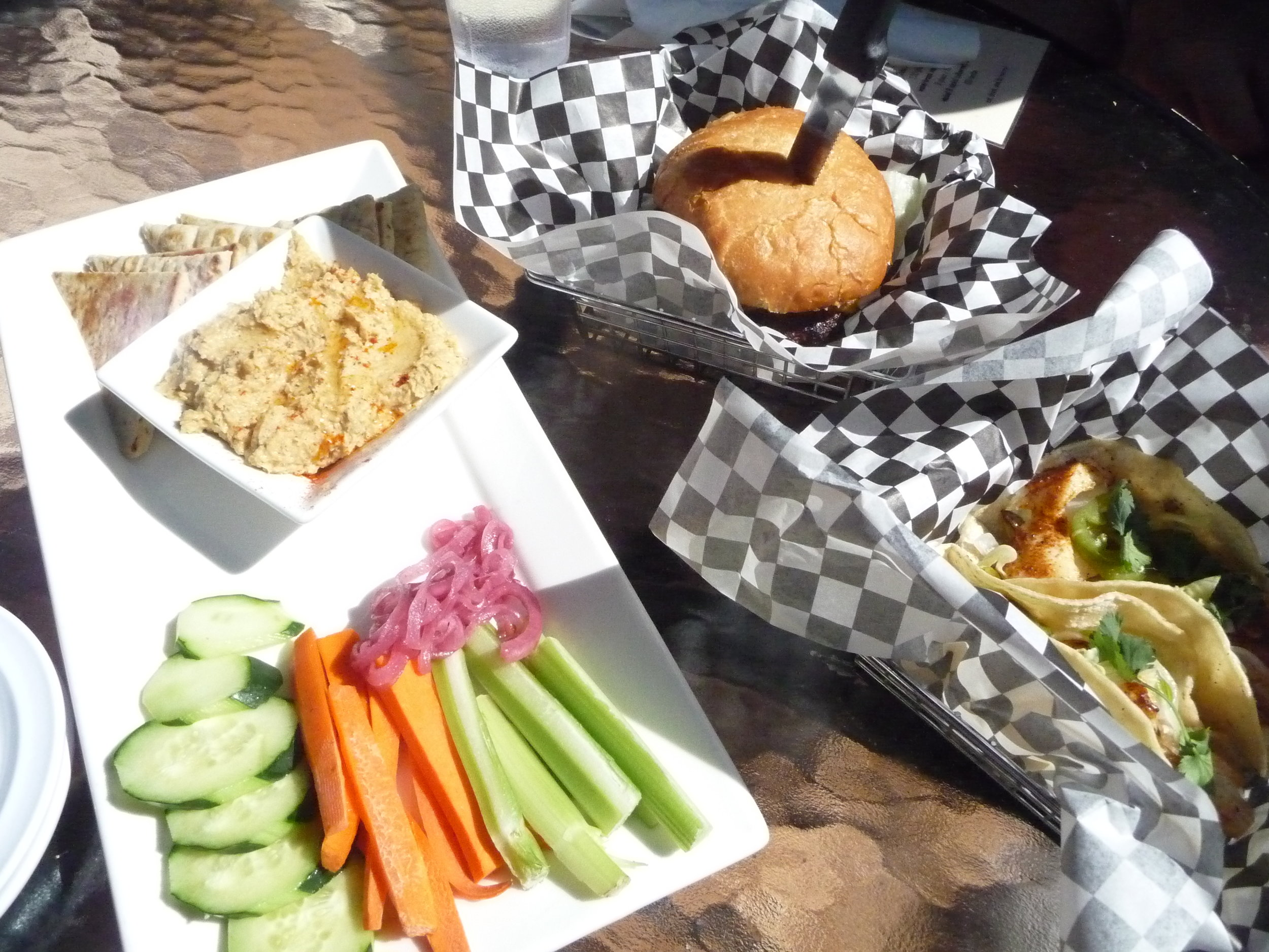 Appetizer offerings at Farrar's Bistro-hummus platter, red snapper fish tacos and a black & bleu burger
