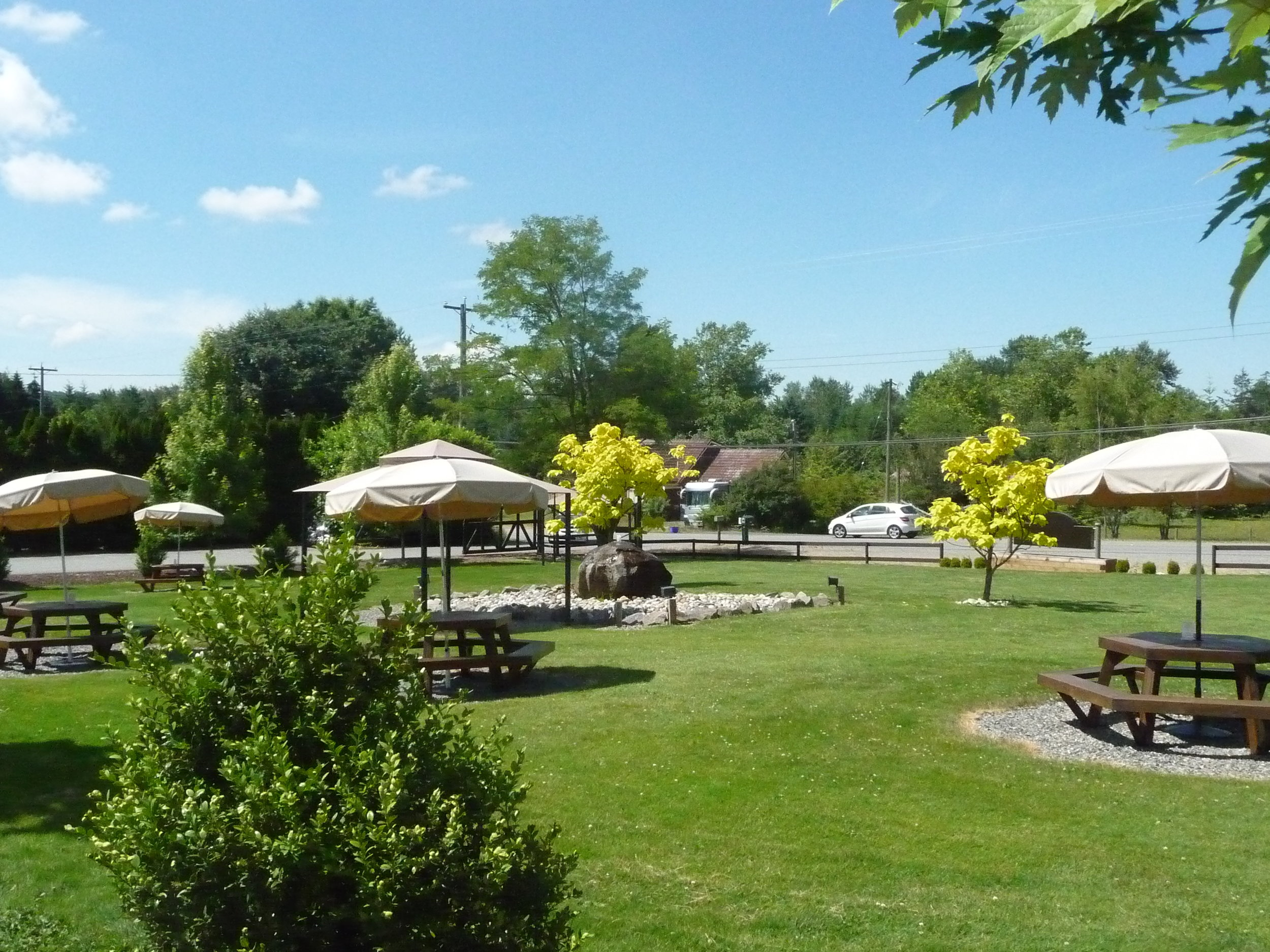 Inviting picnic area out front of Chaberton Estate Winery to enjoy a glass or bottle. Chaberton also has The Bacchus Bistro on-site.