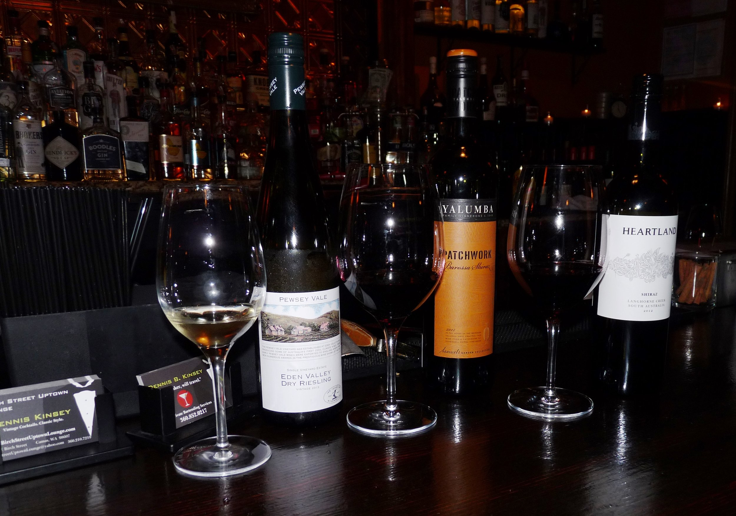 The lineup of Australian wines for our spontaneous Monday night wine tasting presided over by cocktail extraordinaire, Dennis Kinsey.