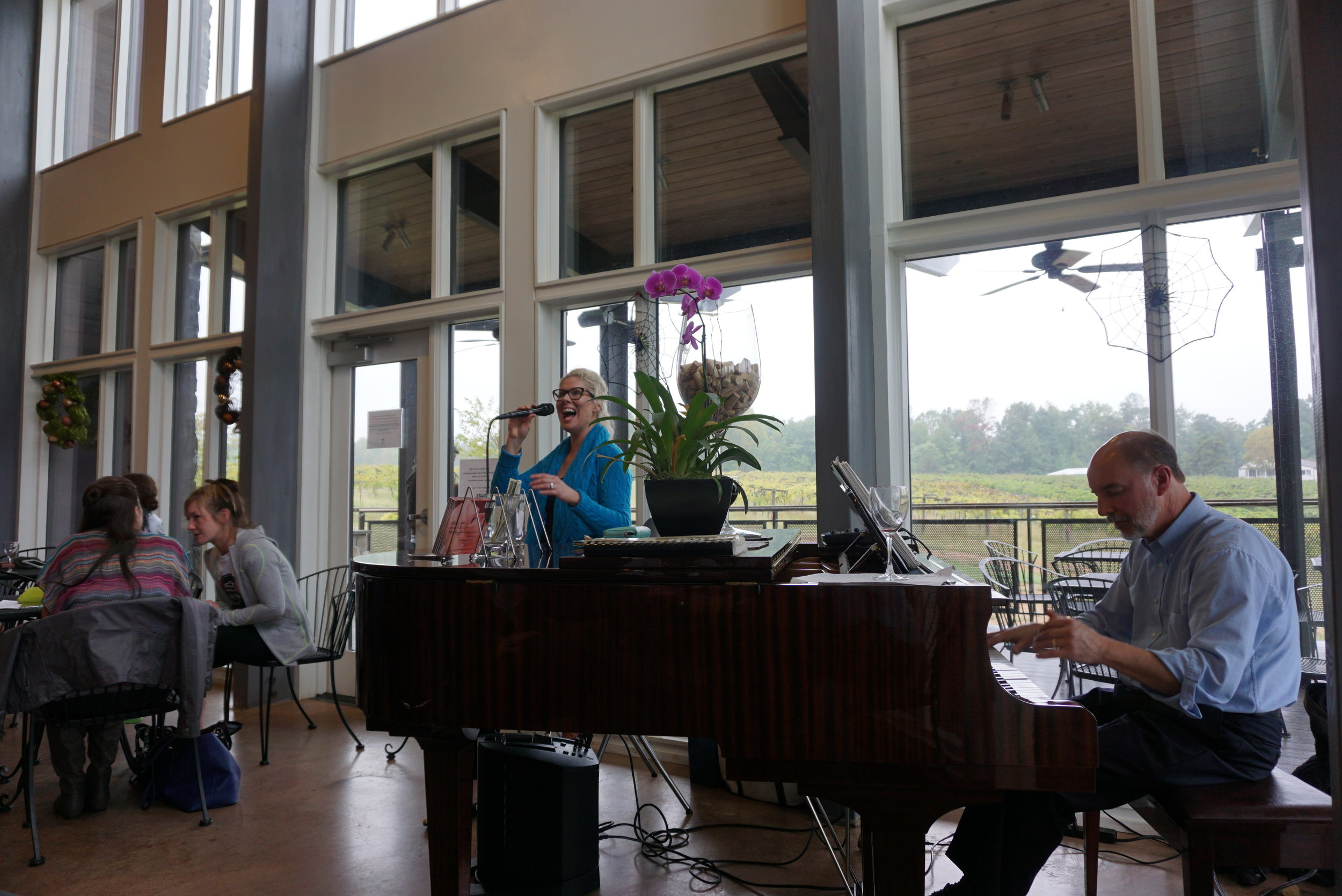 The fantastic chops of live jazz musicians such as Emme St. James accompany wine sipping at Cooper Vineyards—the first platinum LEED certified winery on the East Coast. Viki Eierdam