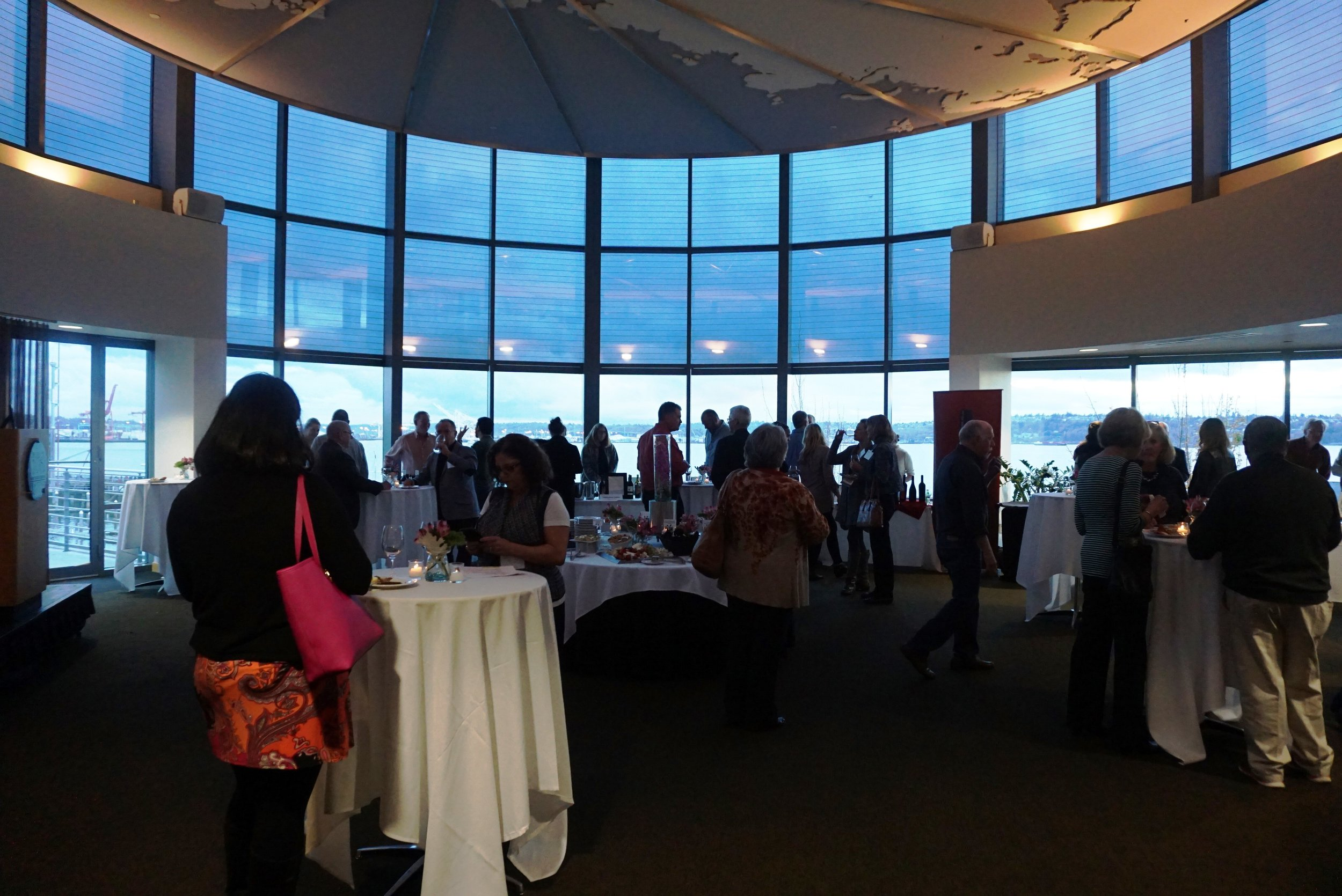 November's Washington State AVA Seattle Urban Wineries tasting, held on the fourth floor of The World Trade Center Seattle, afforded a stunning 180-degree water view. Viki Eierdam
