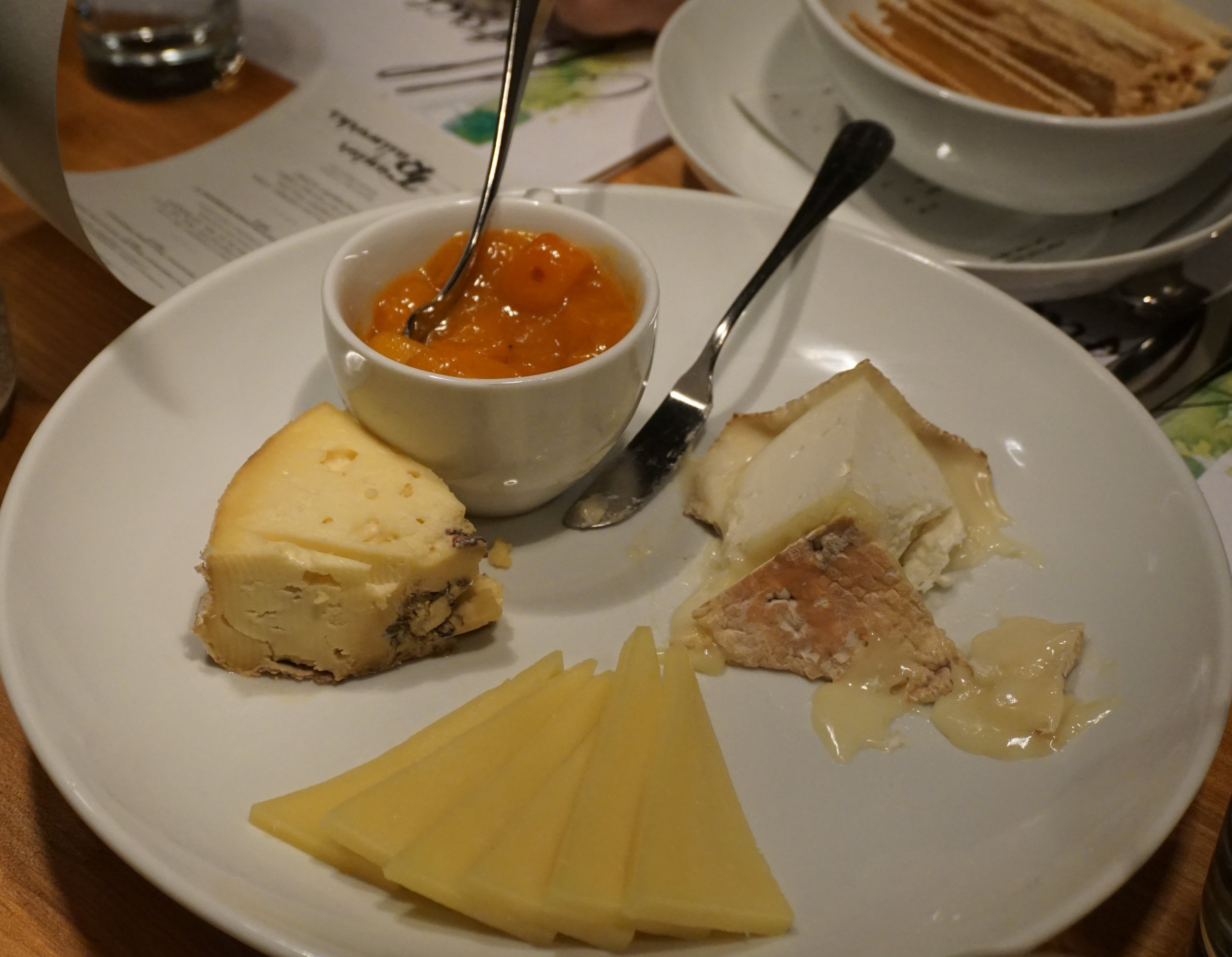 The typical European cheese plate was a trifecta opportunity to showcase the versatility of Alsatian wines. Viki Eierdam