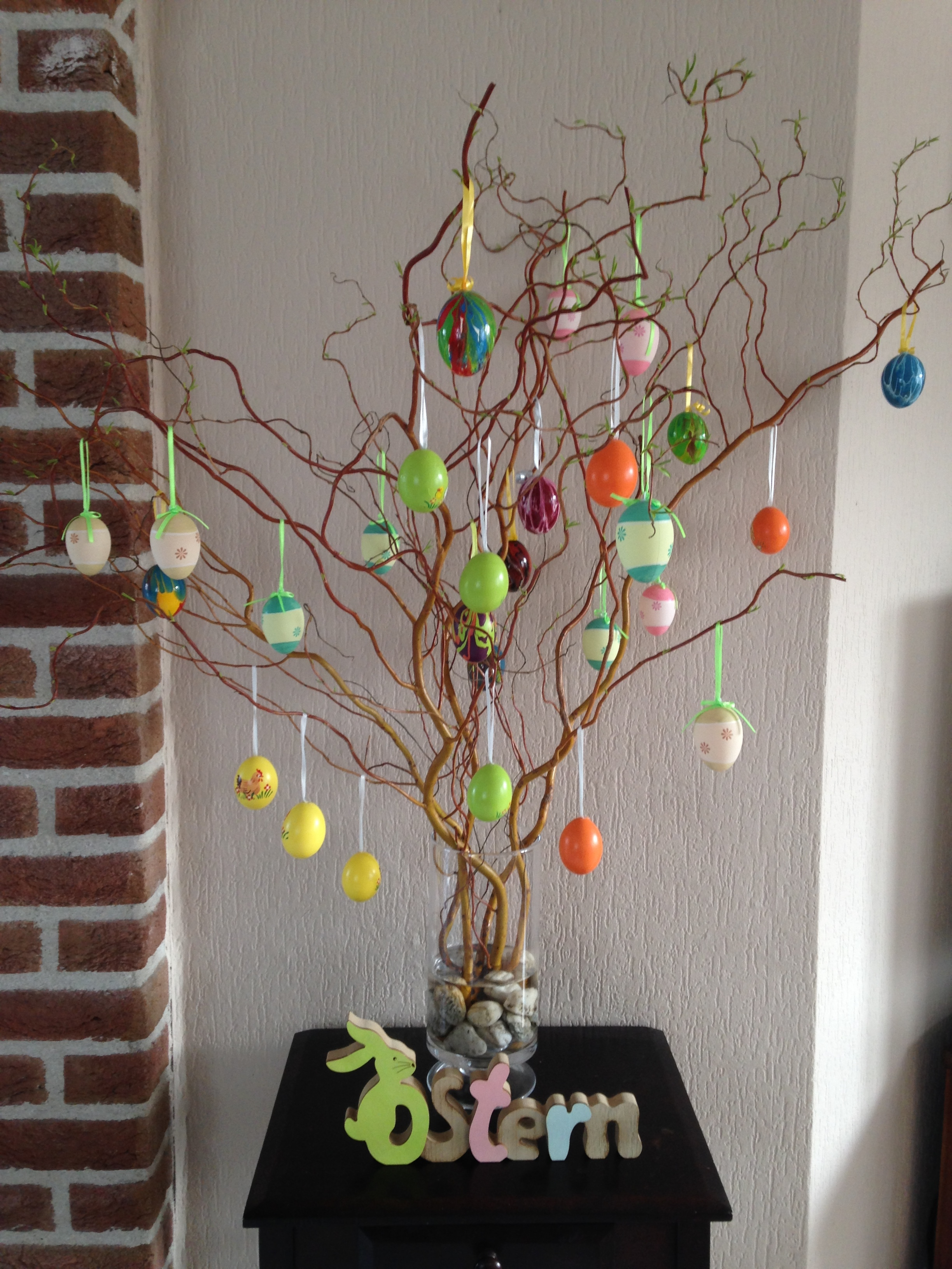 My kids decorated our tree with a mishmash of eggs they have collected at markets or made themselves over the years here in Germany.