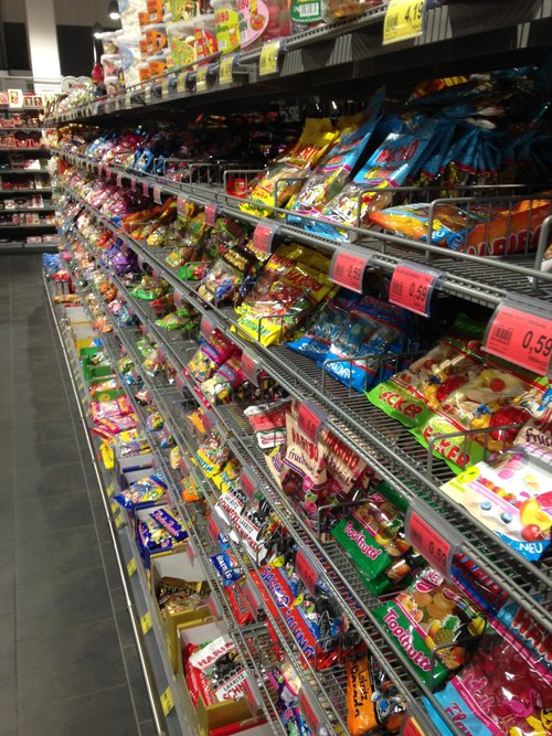 My village grocery - an entire aisle of gummy candy!