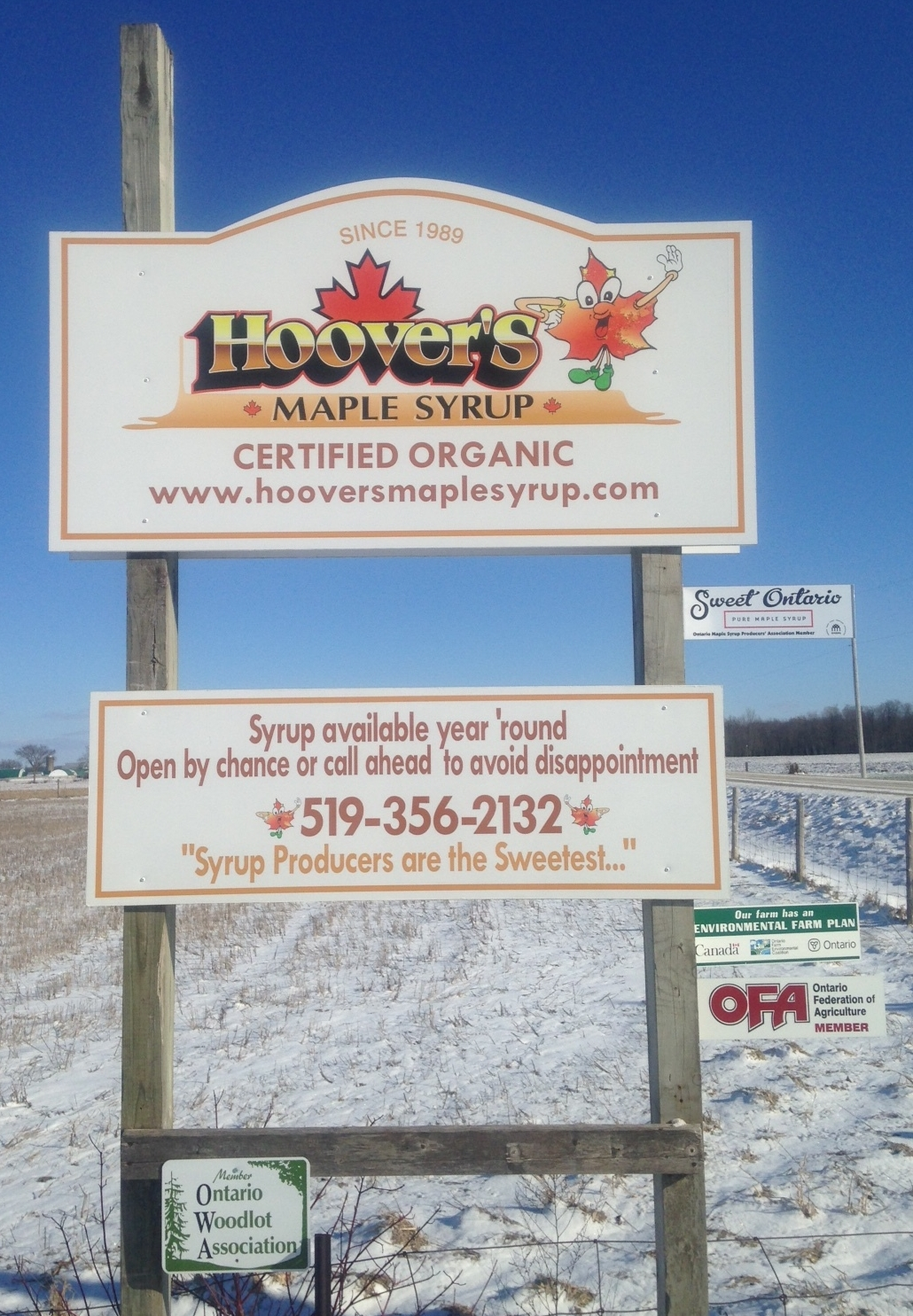 Hoover's Maple Syrup Road Sign - Atwood, Ontario