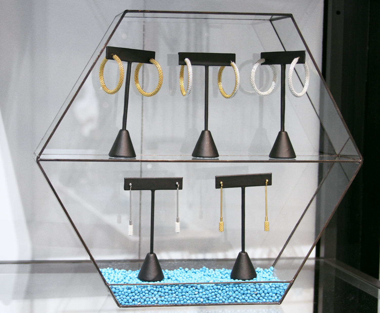 Custom designed glass terrariums for use as jewelry displays