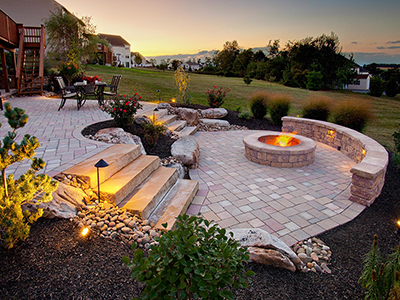Top landscape design with fire pit in Schuylkill County, PA