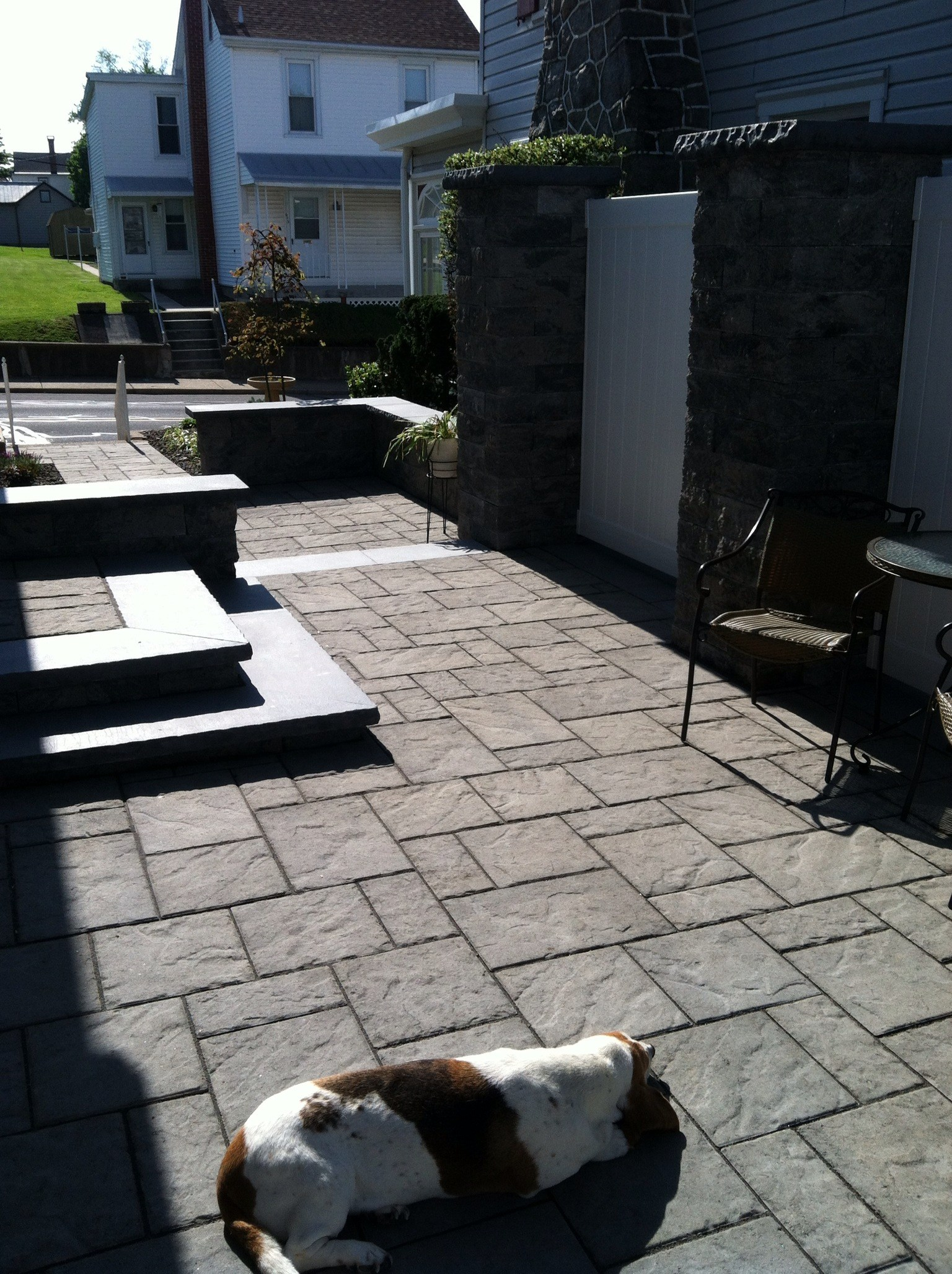 Professional landscape design with bluestone in South Whitehall, PA
