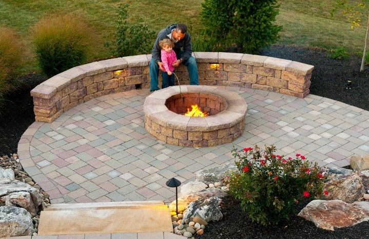 Professional landscape design with fire pit in Exeter, PA