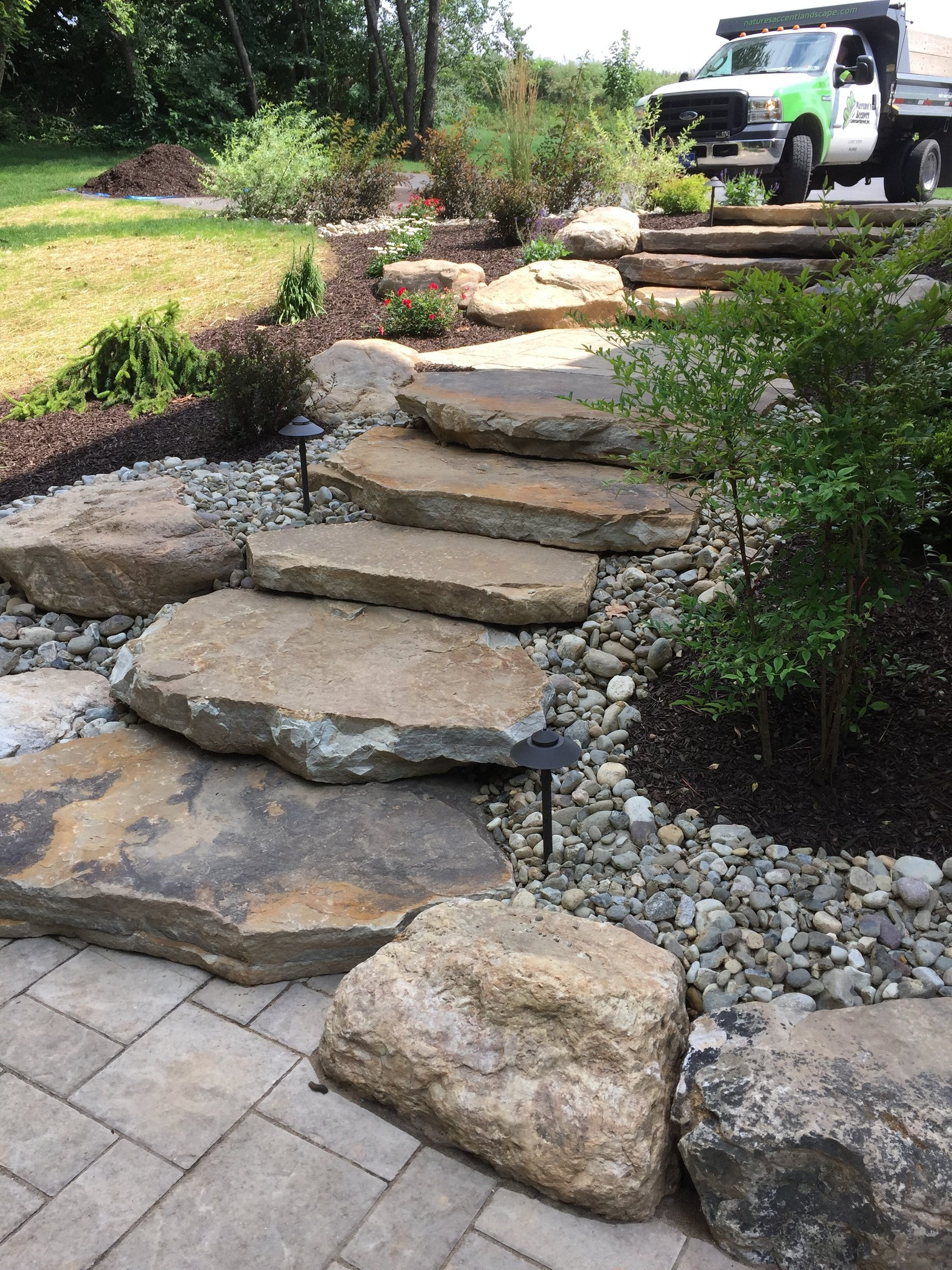 Professional landscape design with flagstone inAllentown, PA