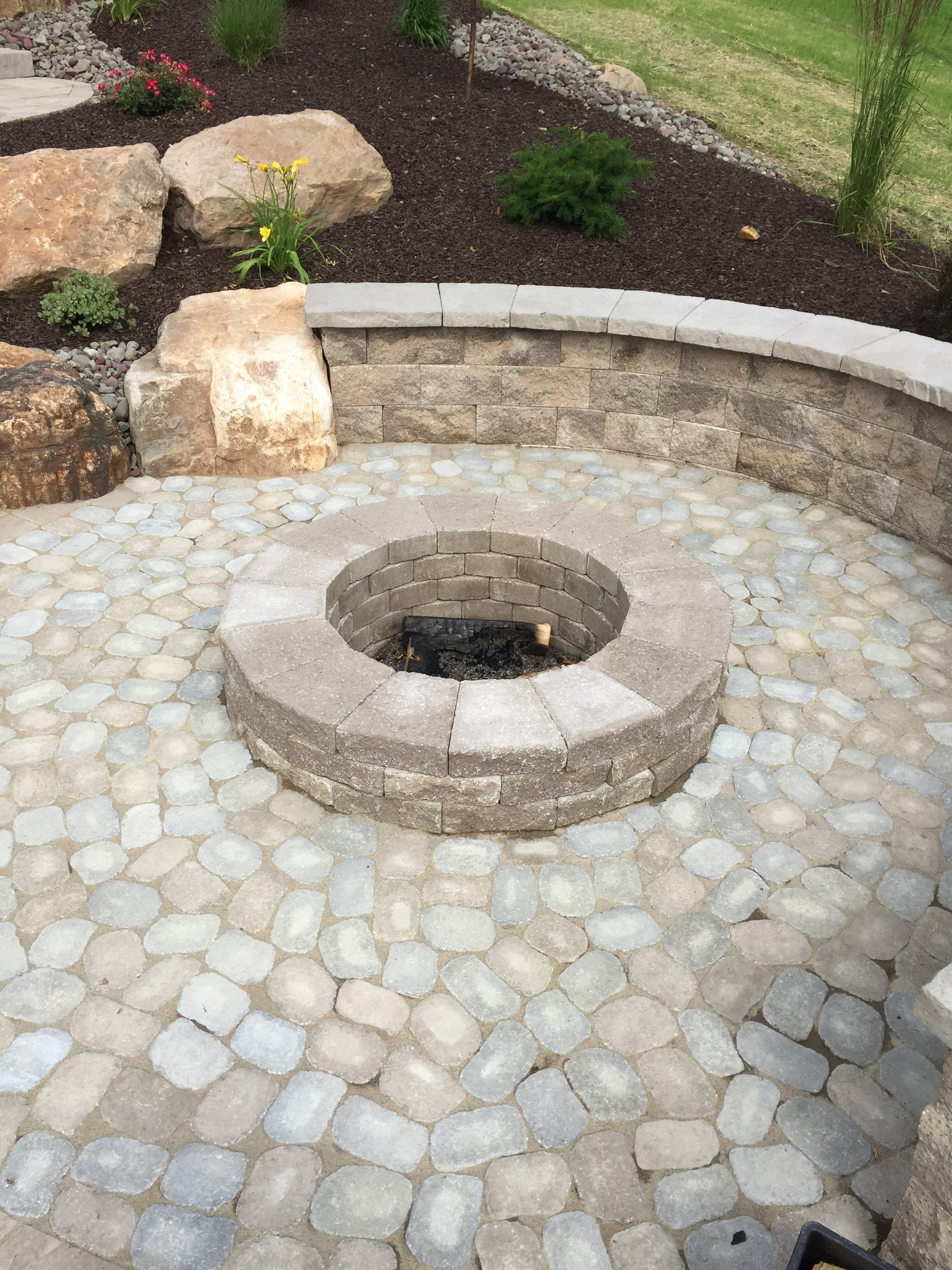 Professional landscape design with a fire pit in Lebanon, PA