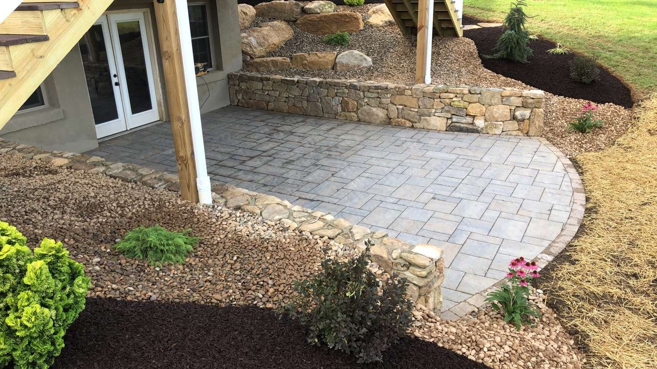 Retaining wall with paver patio in Wayne Township PA