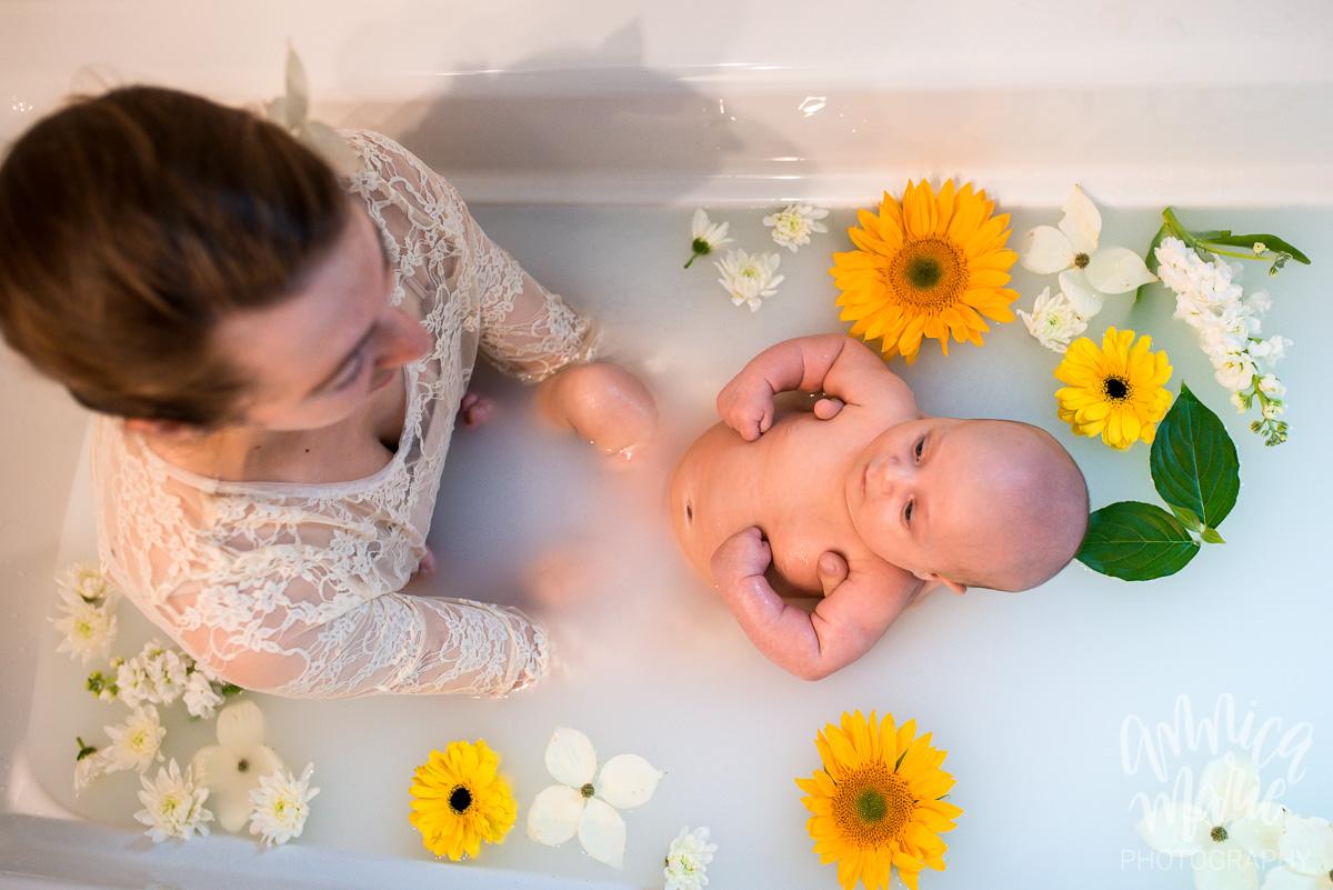 baby sunflower floral milk bath