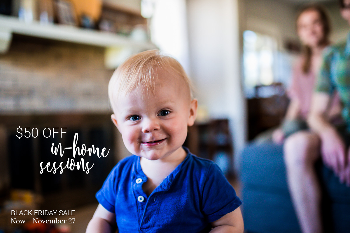Includes in-home maternity, baby, and family sessions.