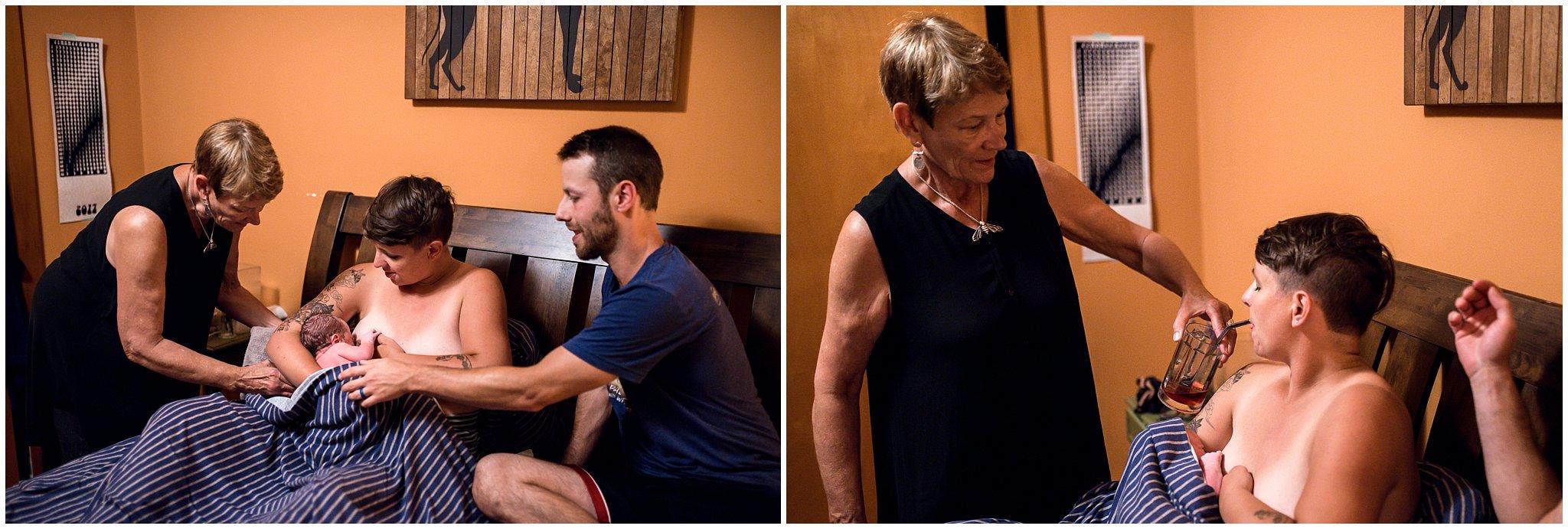 Grand Rapids home birth photographer - Annica Quakenbush - first latch midwife Yolanda Visser