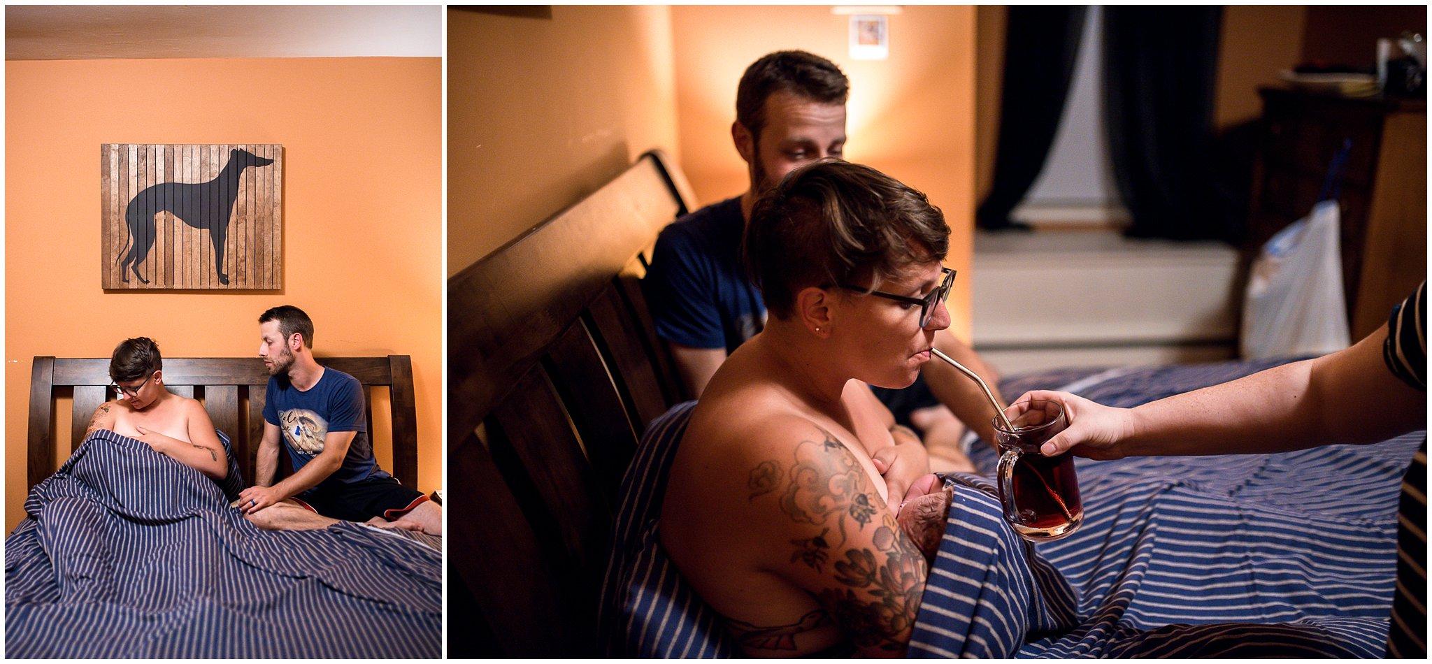 Grand Rapids home birth photographer - Annica Quakenbush - drinking juice nursing